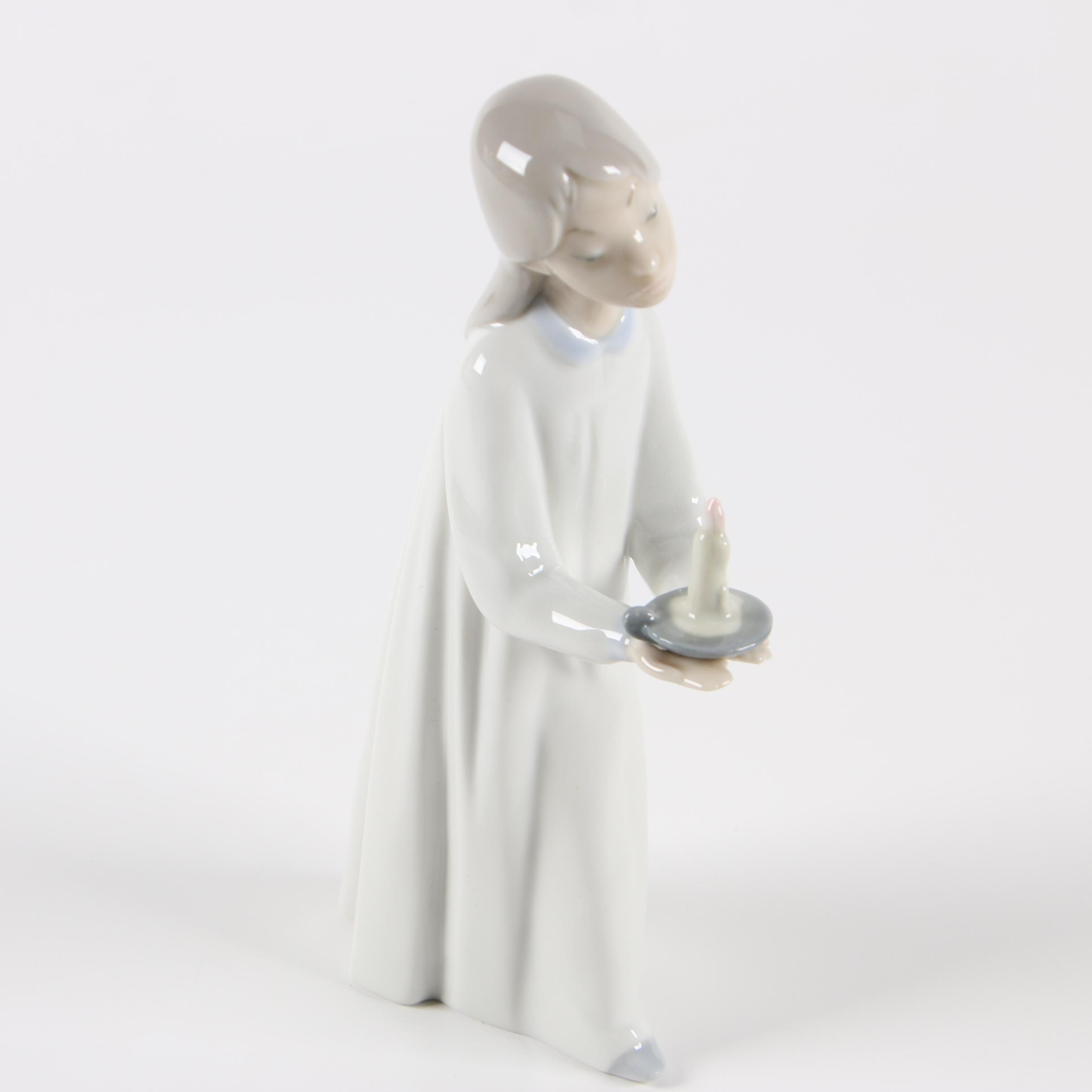 "Lladro ""Girl With Candle"" Porcelain Figurine"