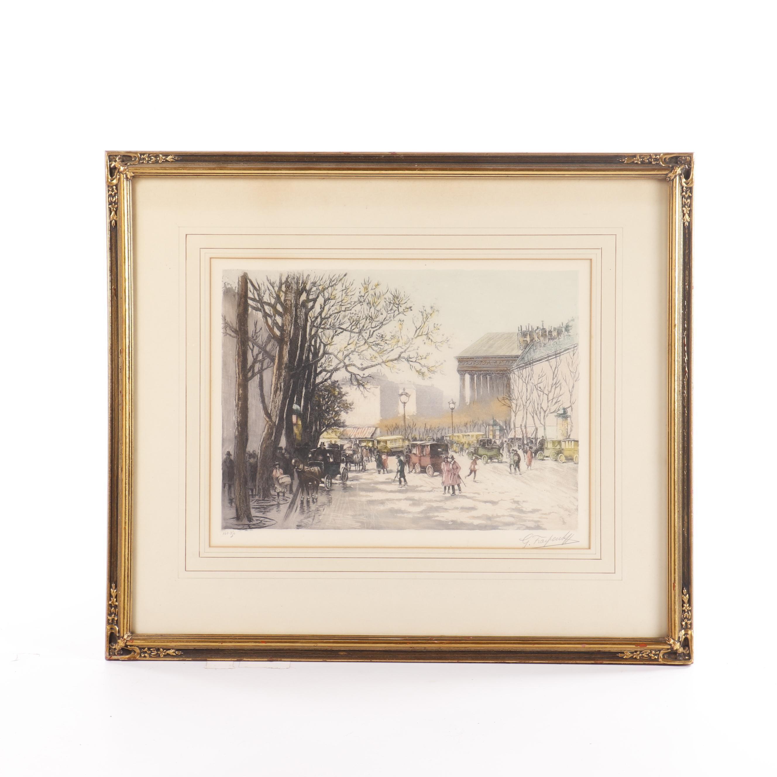 Gustage Fraipont Lithograph of European Street Scene