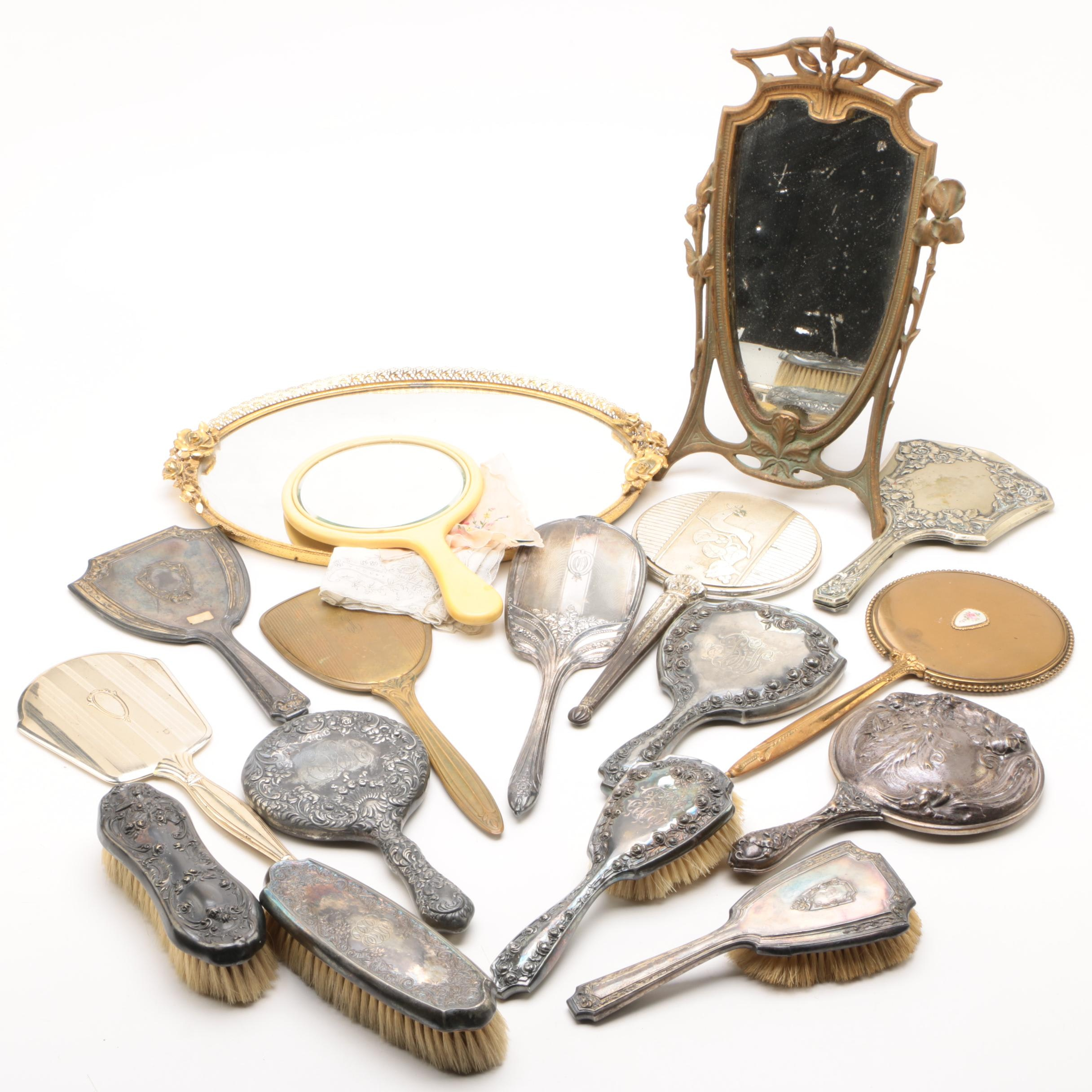 Silver Plate Mirrors and Brushes with Other Vanity Items, Early 20th Century