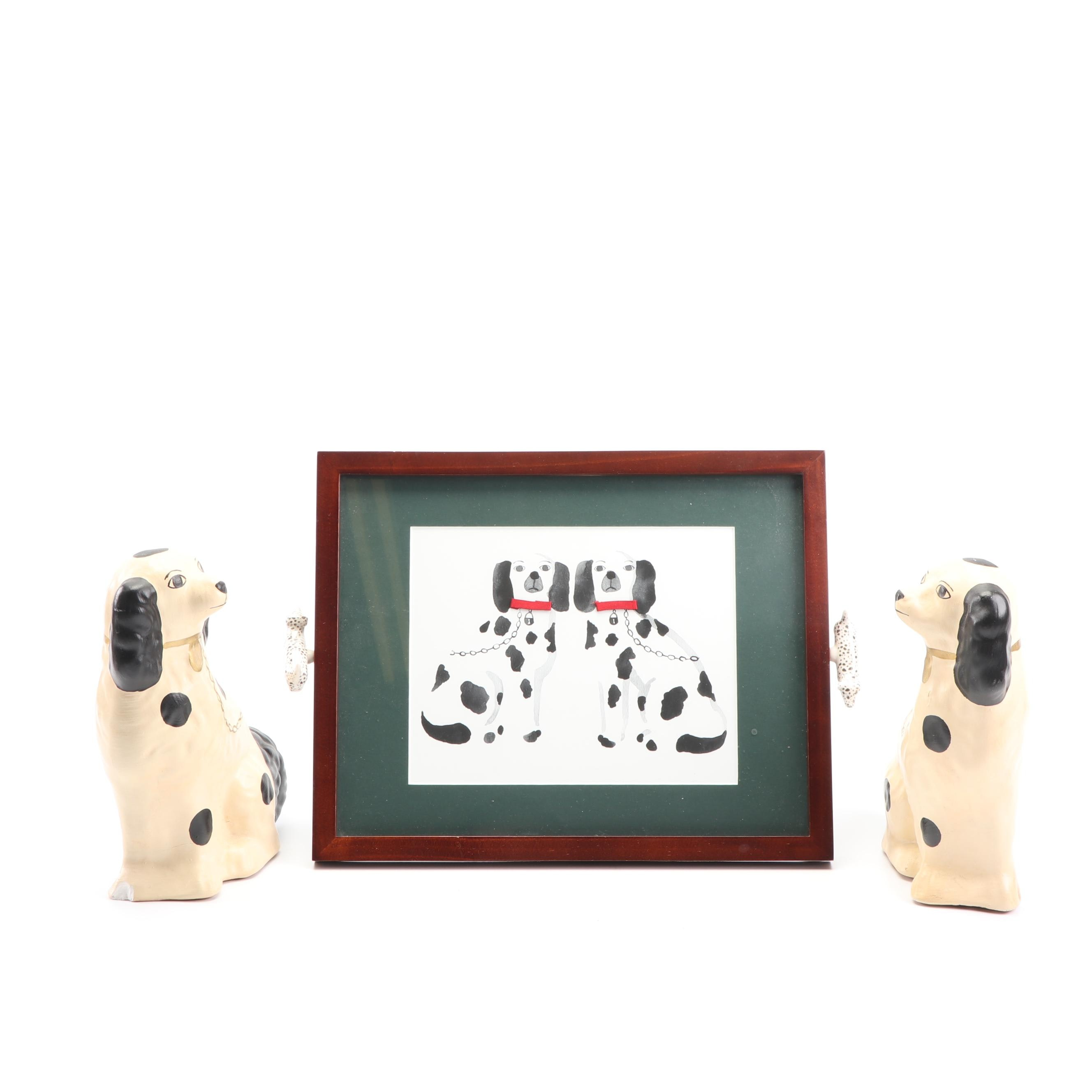 Spaniel Figurines and Framed Print of Spaniels