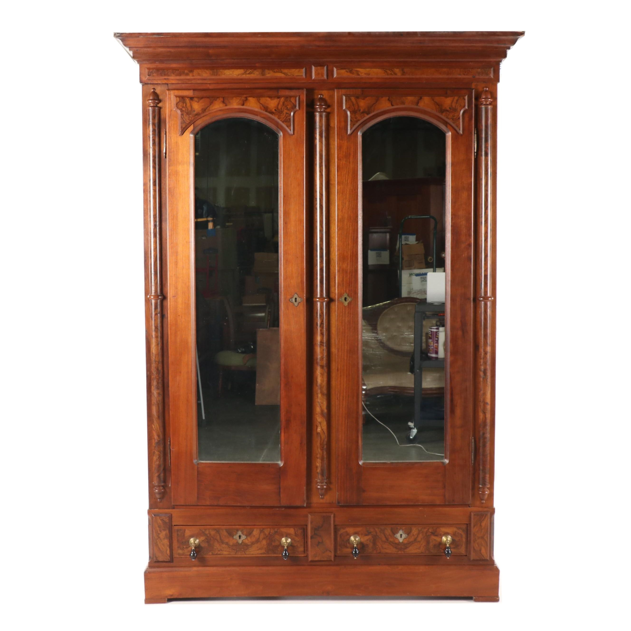 Late Victorian Walnut Armoire with Burl Accents, 19th Century