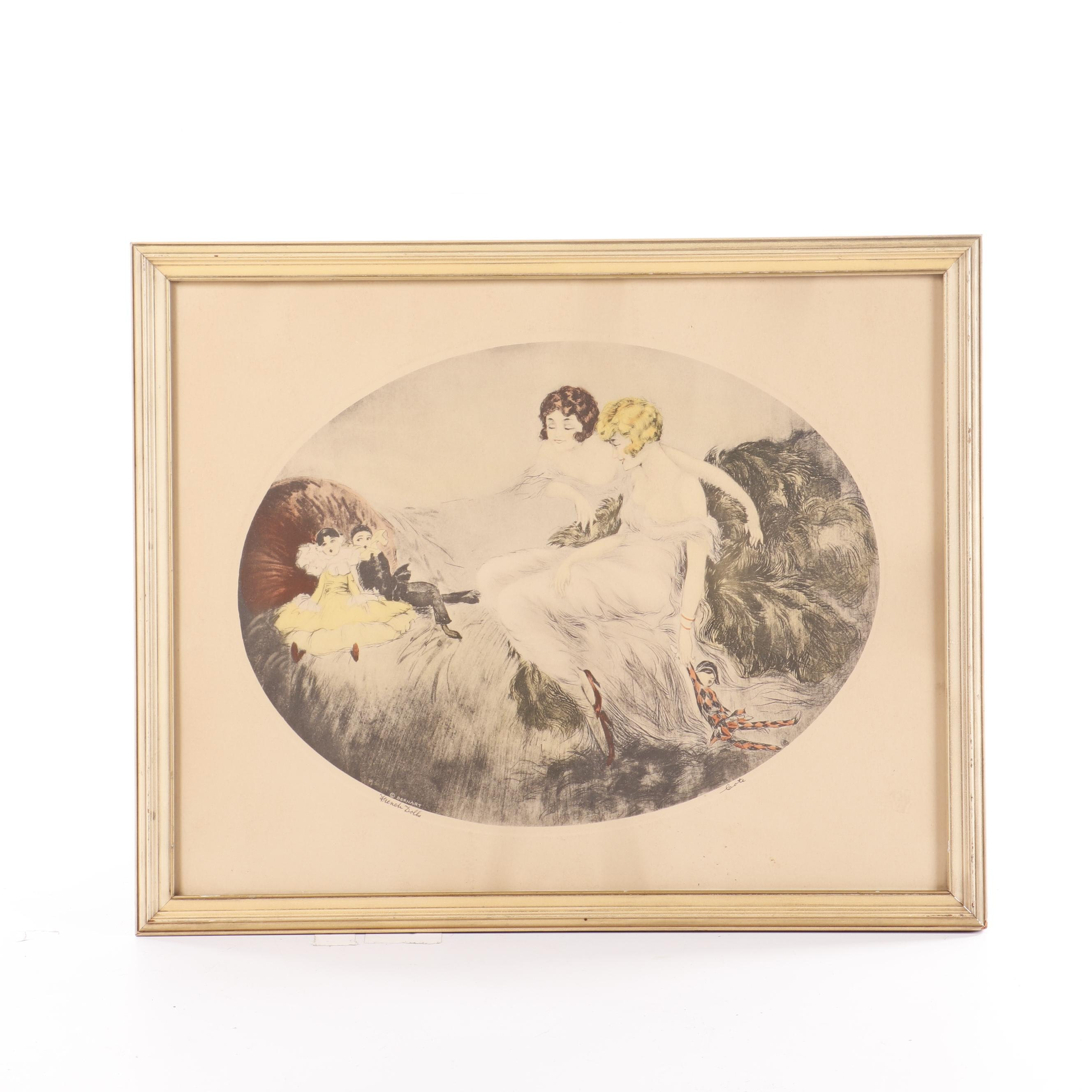 "Cote Hand-Colored Etching ""French Dolls"""