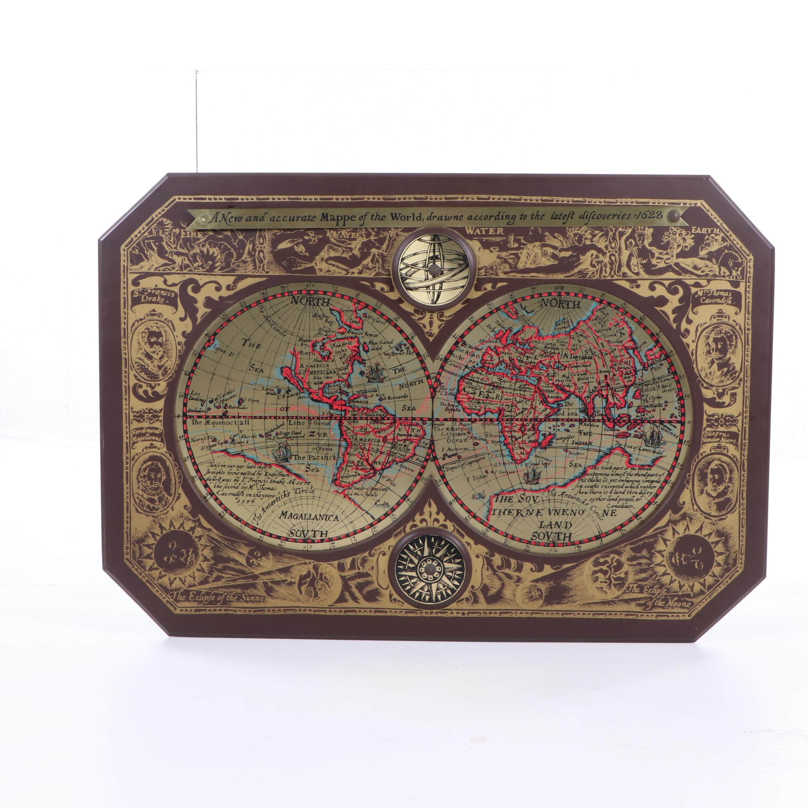 1964 Masketeers Decorative Reproduction 1628 World Map