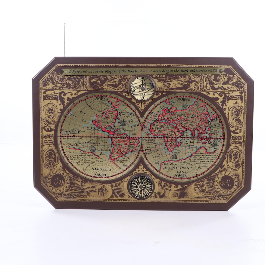A New And Accurate Map Of The World 1628.1964 Masketeers Decorative Reproduction 1628 World Map Ebth