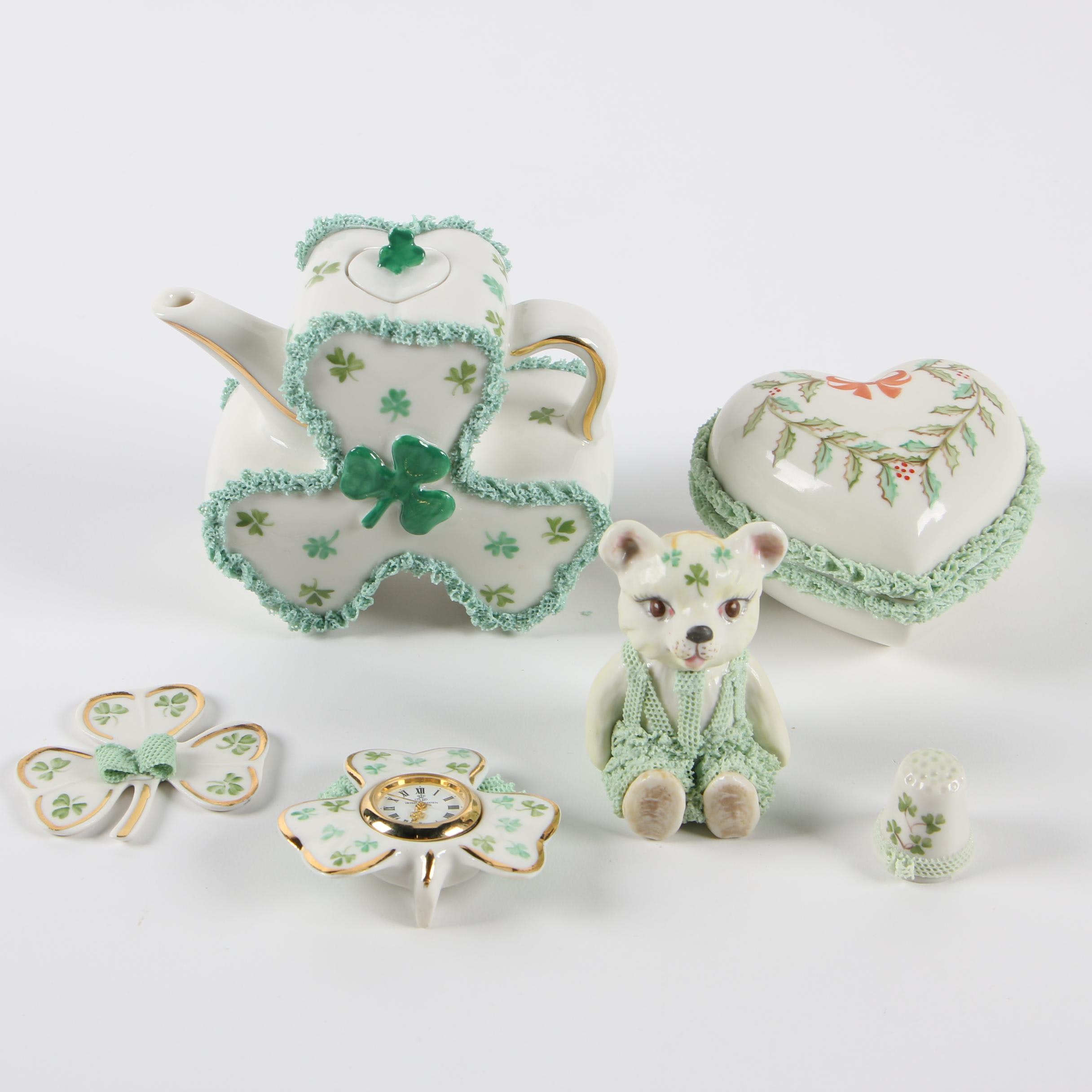 Irish Dresden Porcelain Teapot, Trinket Trays, and Figurine