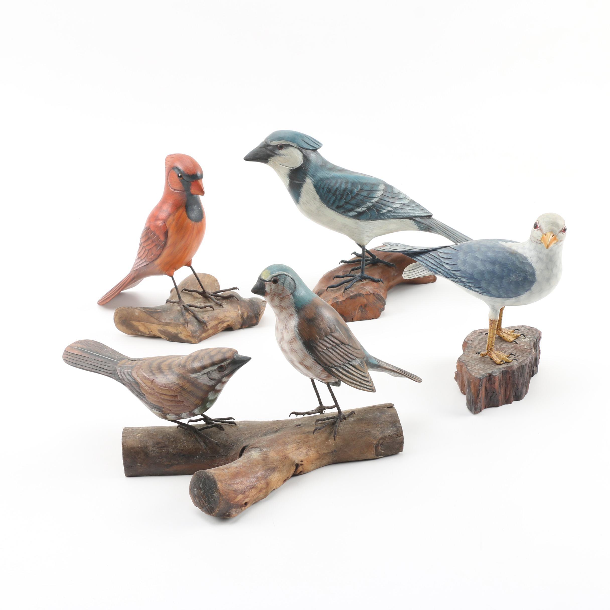 Painted Wooden Bird Figurines