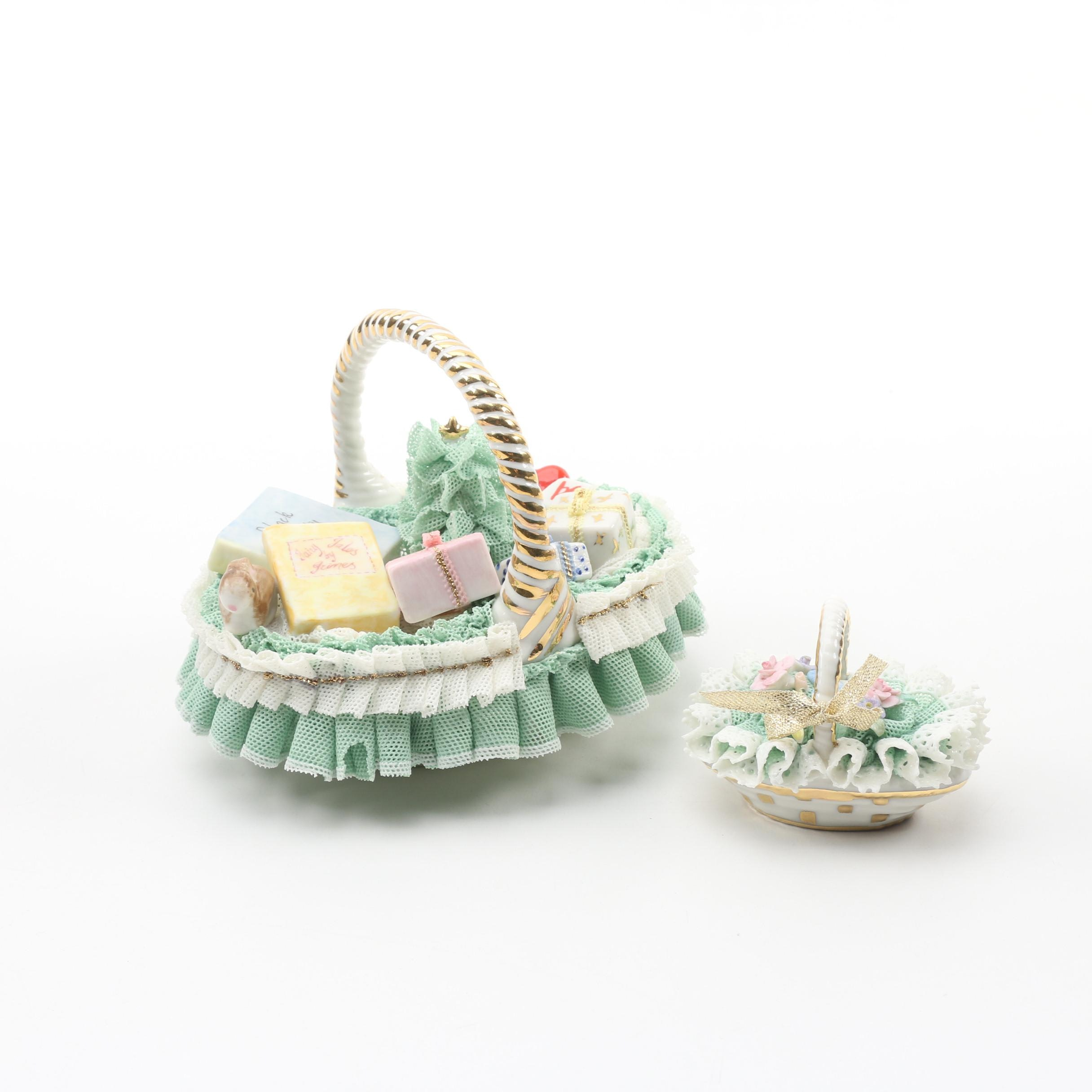 Irish Dresden Porcelain Holiday Basket Figurines
