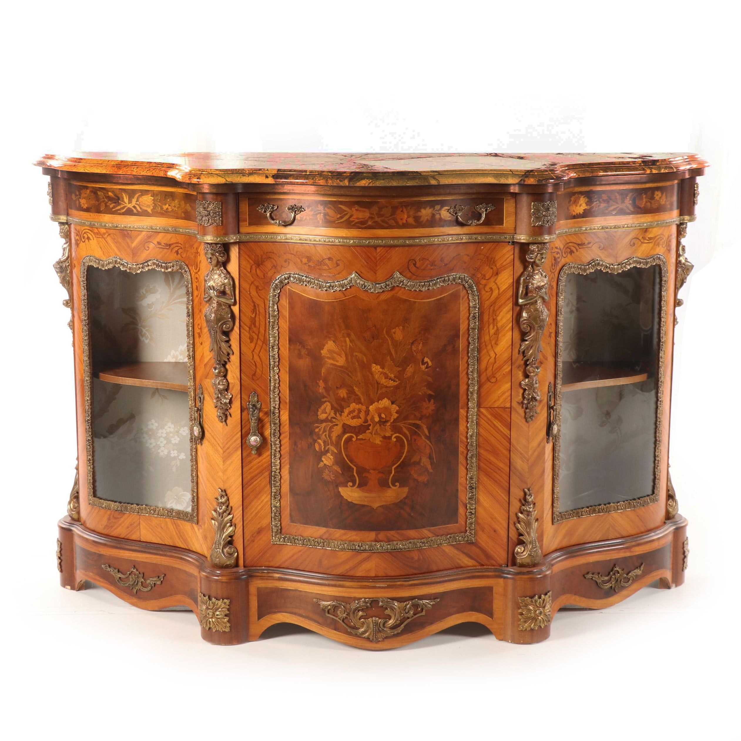 Italian Renaissance Style Walnut and Stone Commode with Marquetry Inlay, 20th C.