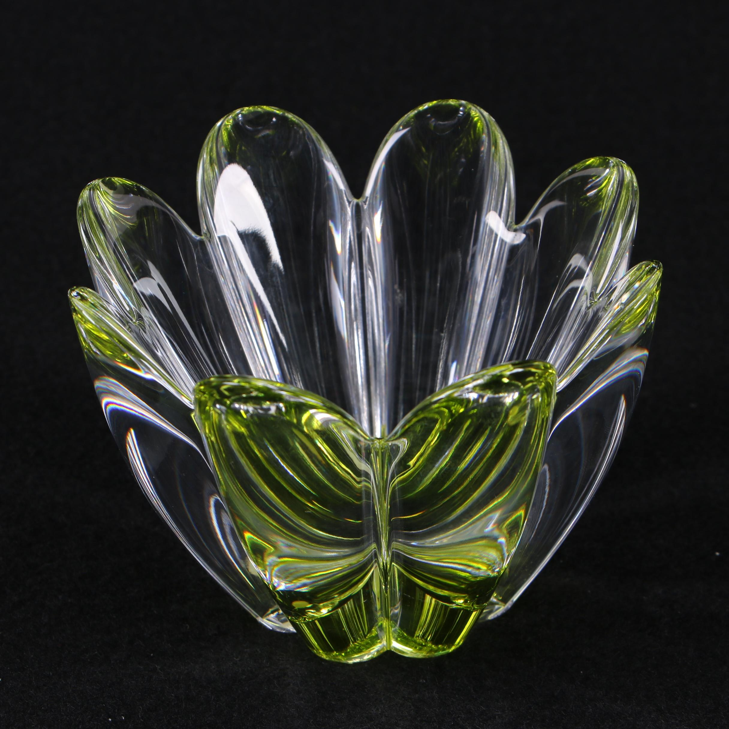 """Orrefors Yellow Tinted """"Mayflower"""" Crystal Bowl"""