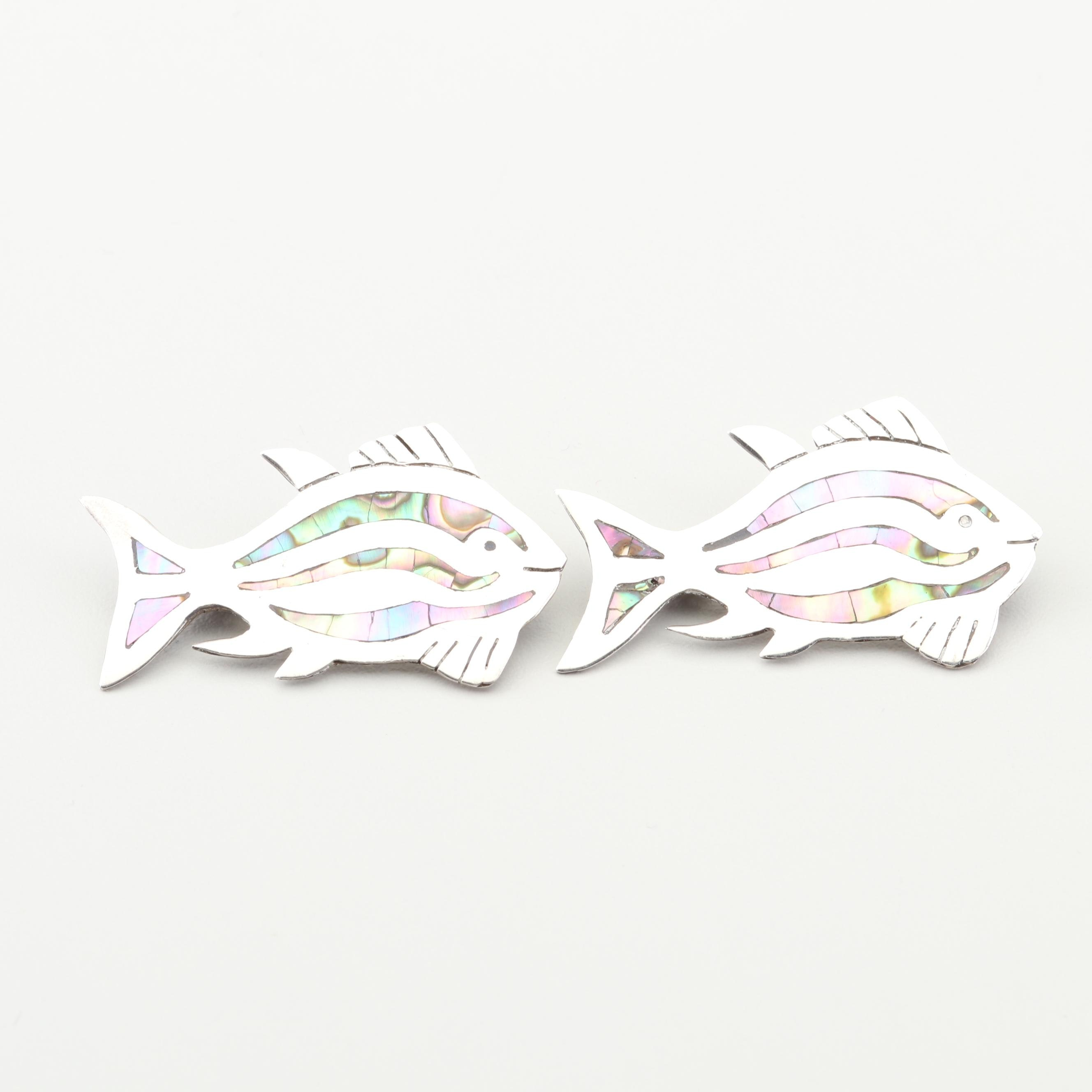 Taxco Sterling Silver Abalone Shell Fish Brooches