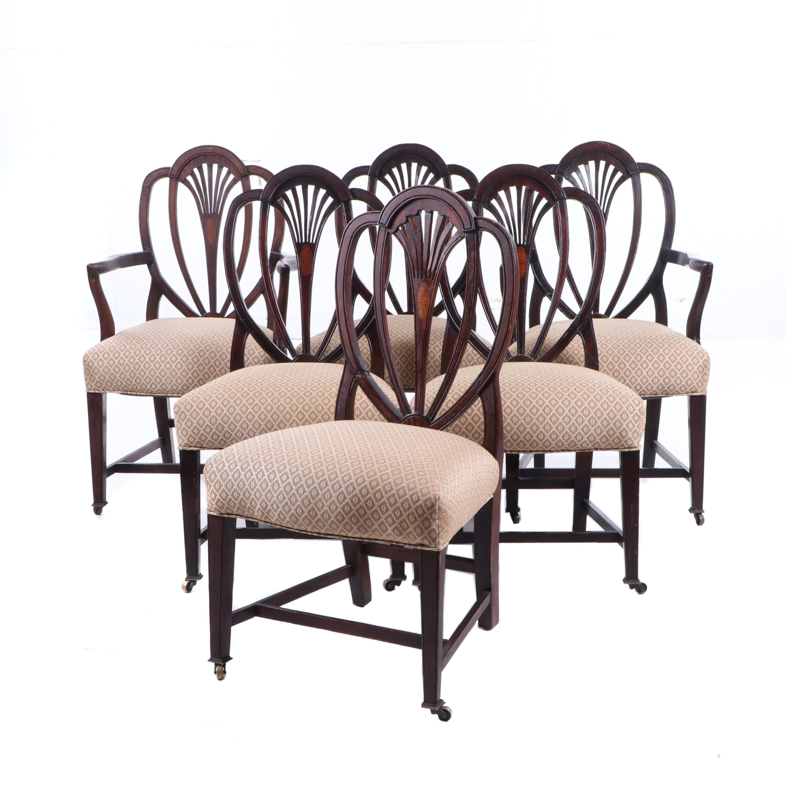 Federal Style Mahogany Dining Chairs on Casters, Early 19th Century