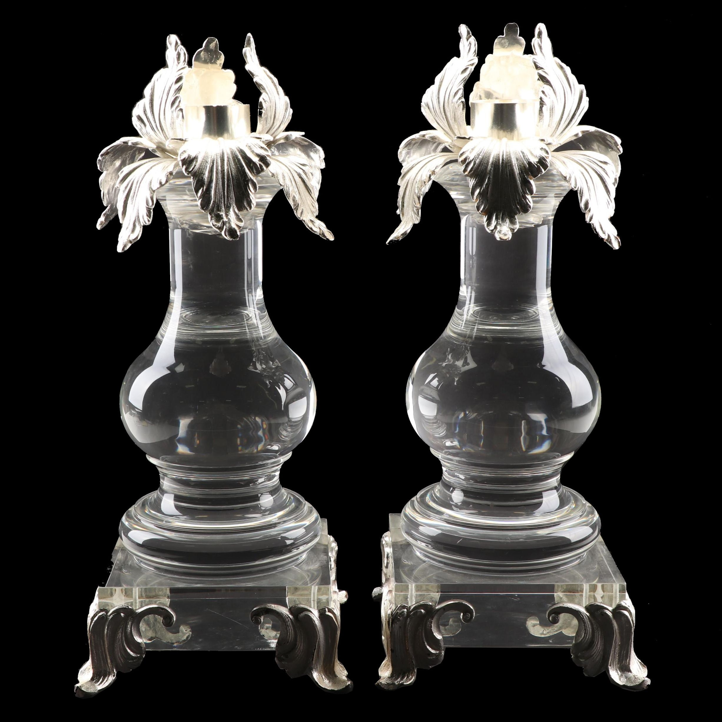 "Franco Lapini Italian Silver Plate and Acrylic ""Iris"" Candlestick Holders"