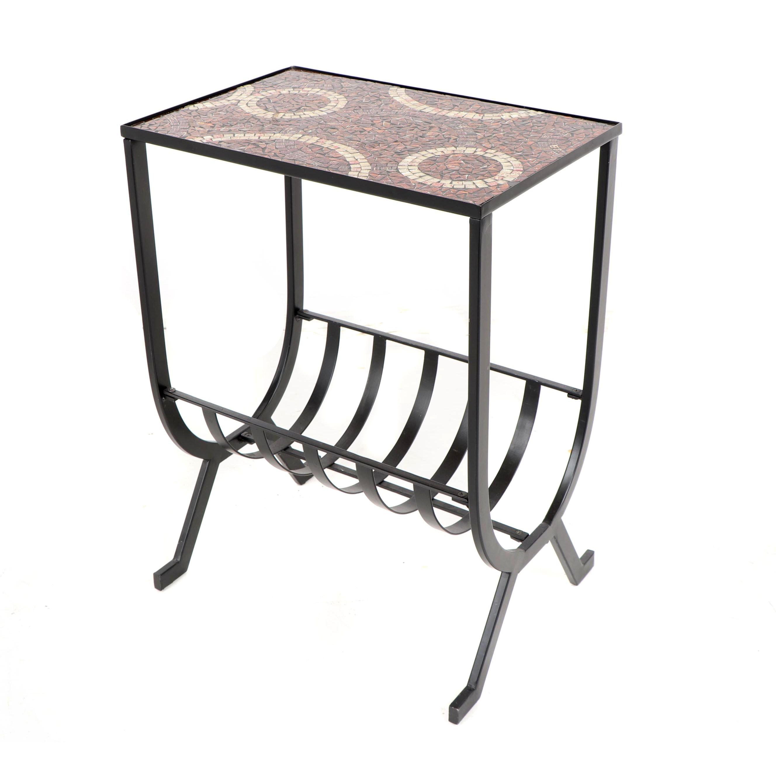Contemporary Glass Mosaic and Metal Side Table