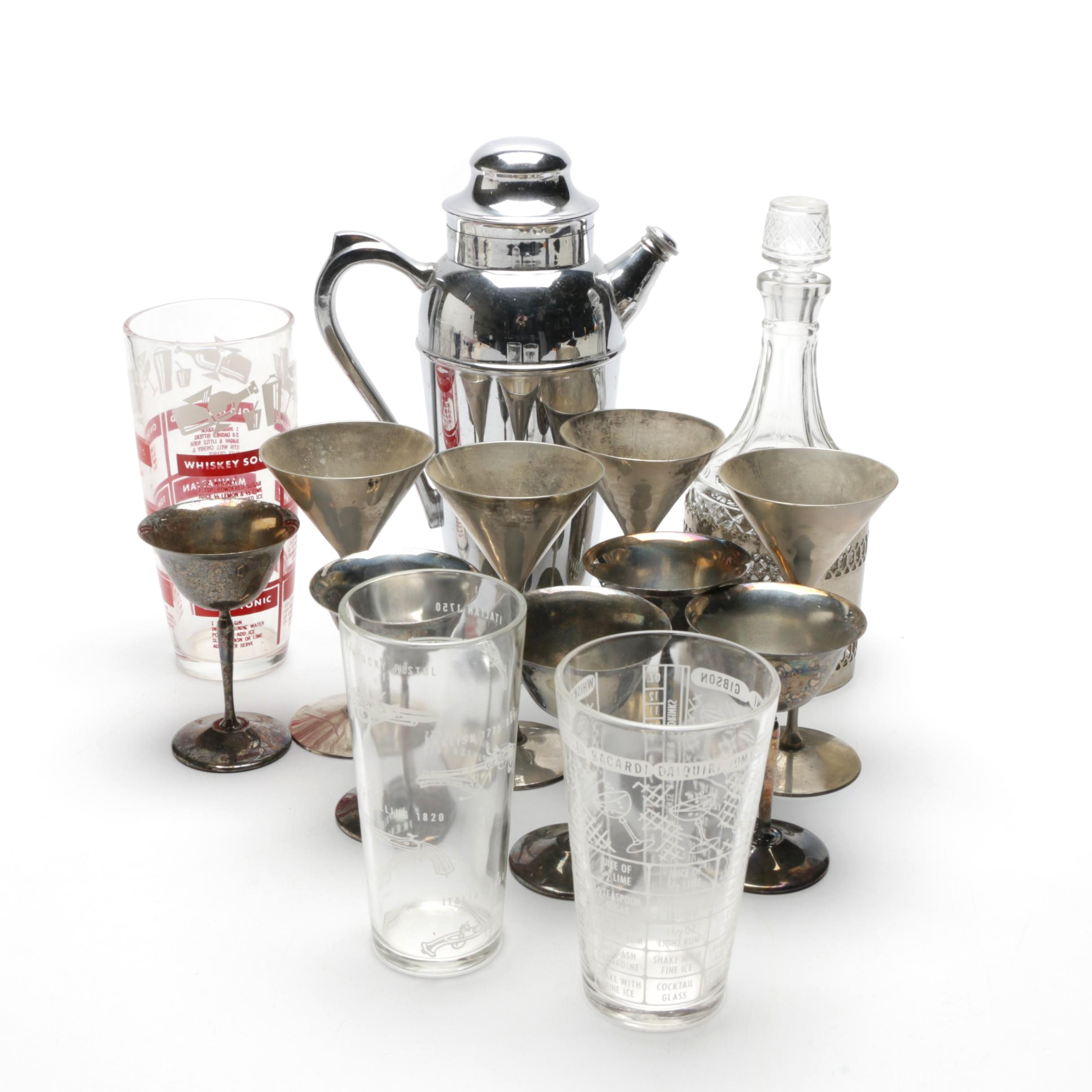 Silver Plate Martini Shaker, Decanter, Martini Glasses and Mixing Glasses