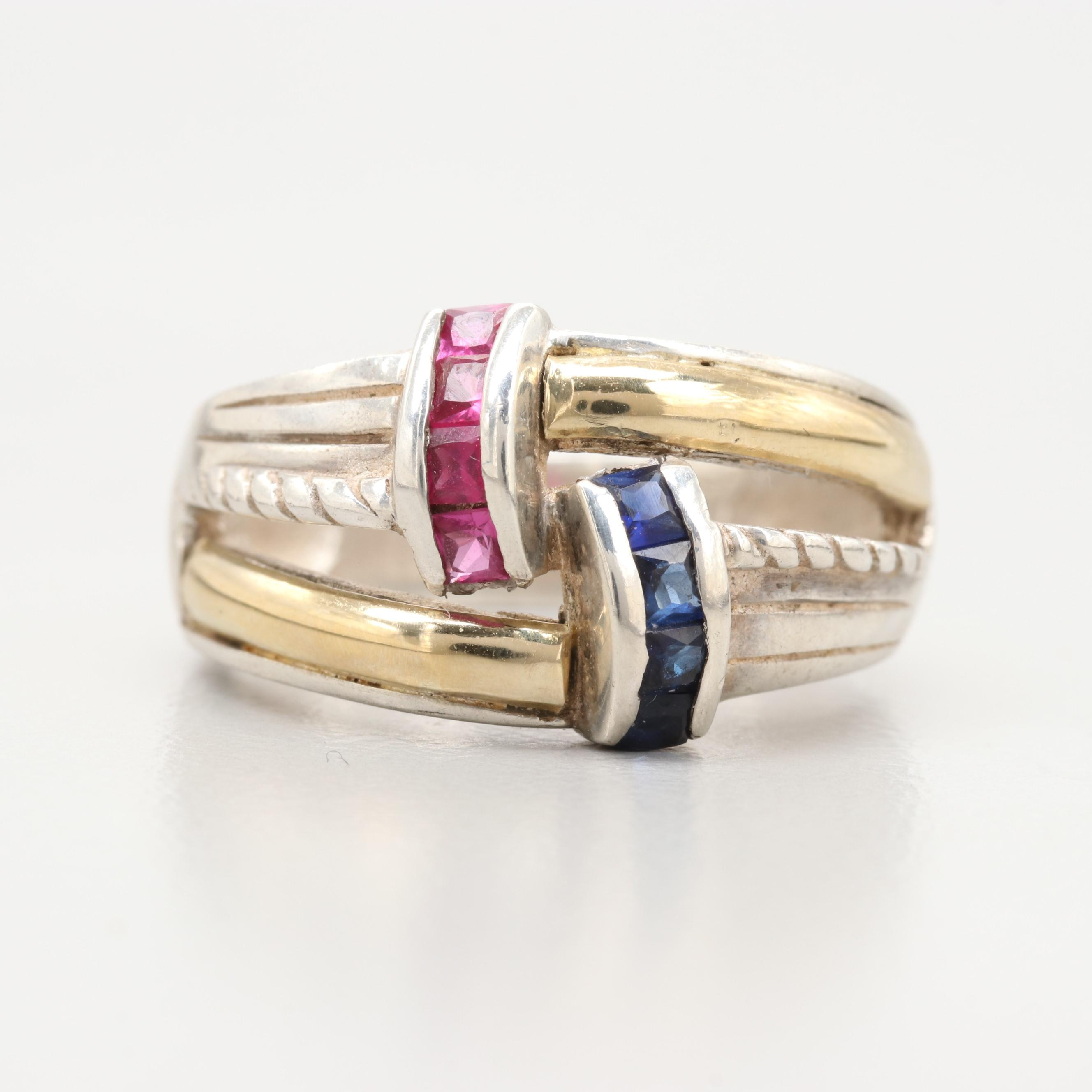 950 Silver and 18K Yellow Gold Synthetic Ruby and Synthetic Blue Sapphire Ring
