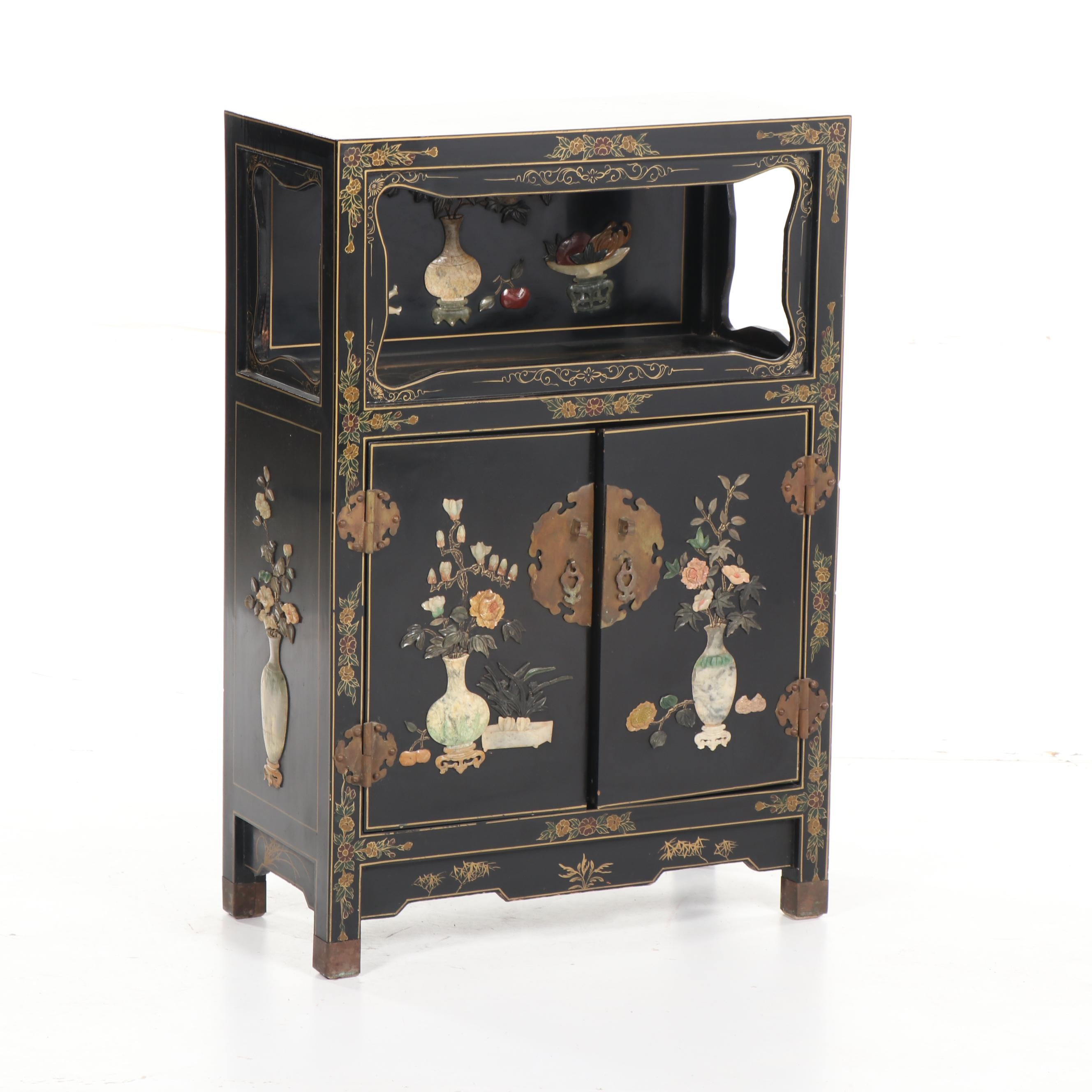 Chinese Black Lacquer Wood Cabinet with Stone Inlay, Mid-20th Century