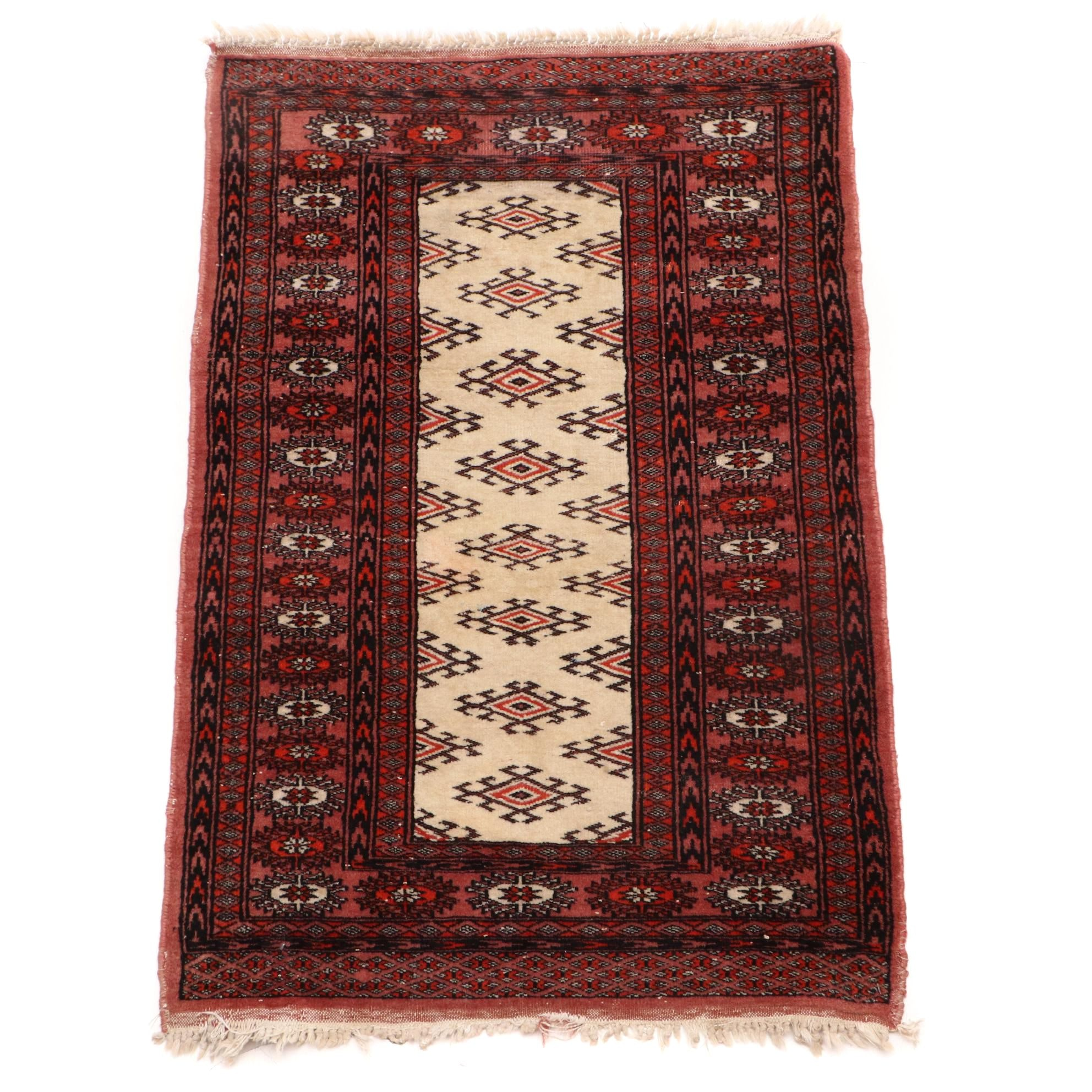Vintage Hand-knotted Turkmen Accent Rug
