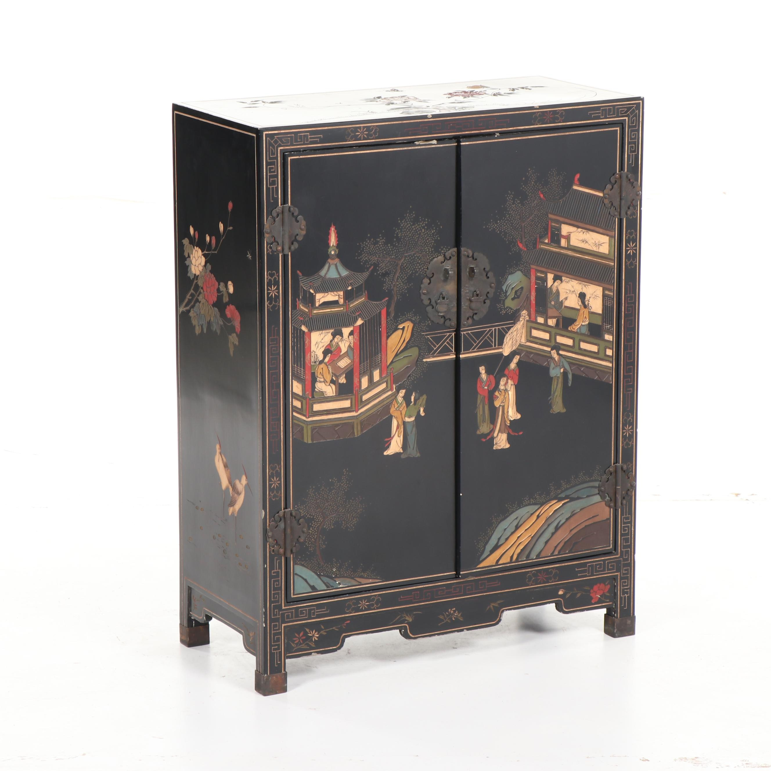 Chinese Black Lacquer Carved Wood Two-Door Cabinet, Mid-20th Century