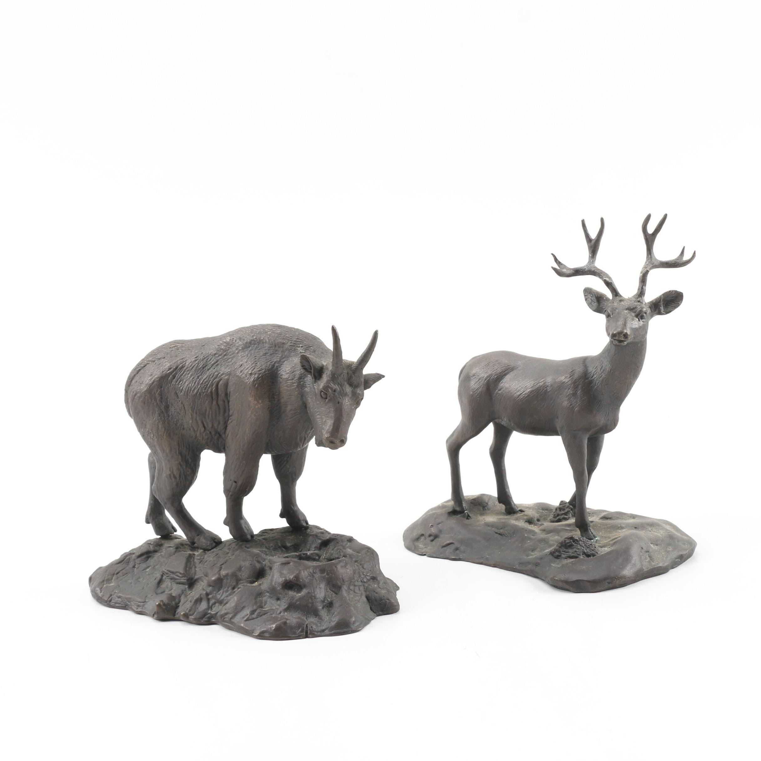 M. Riley Austin Limited Edition Bronze Stag and Mountain Goat Figurines