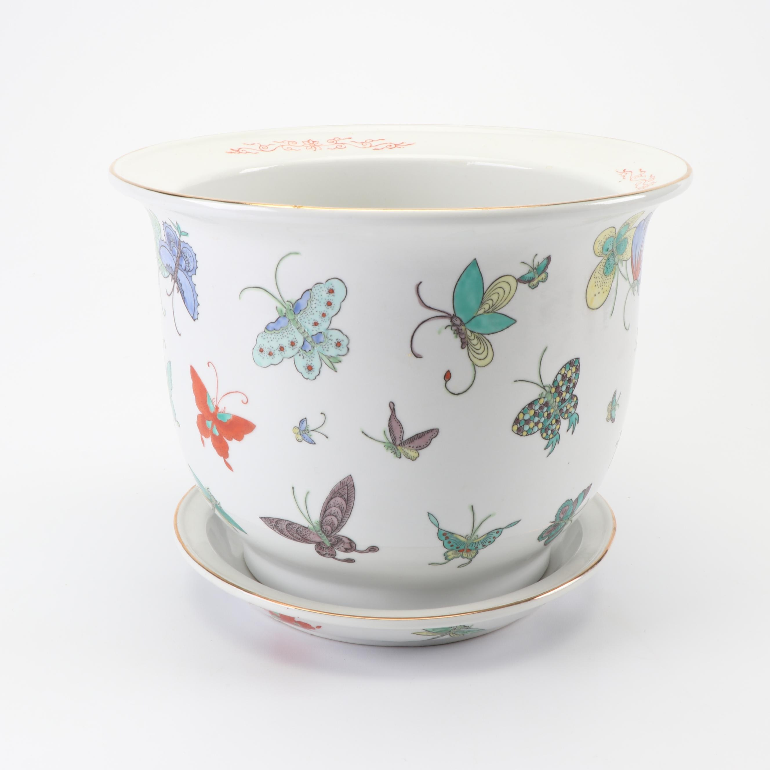 Hand-Painted Chinese Ceramic Planter with Butterfly Motif