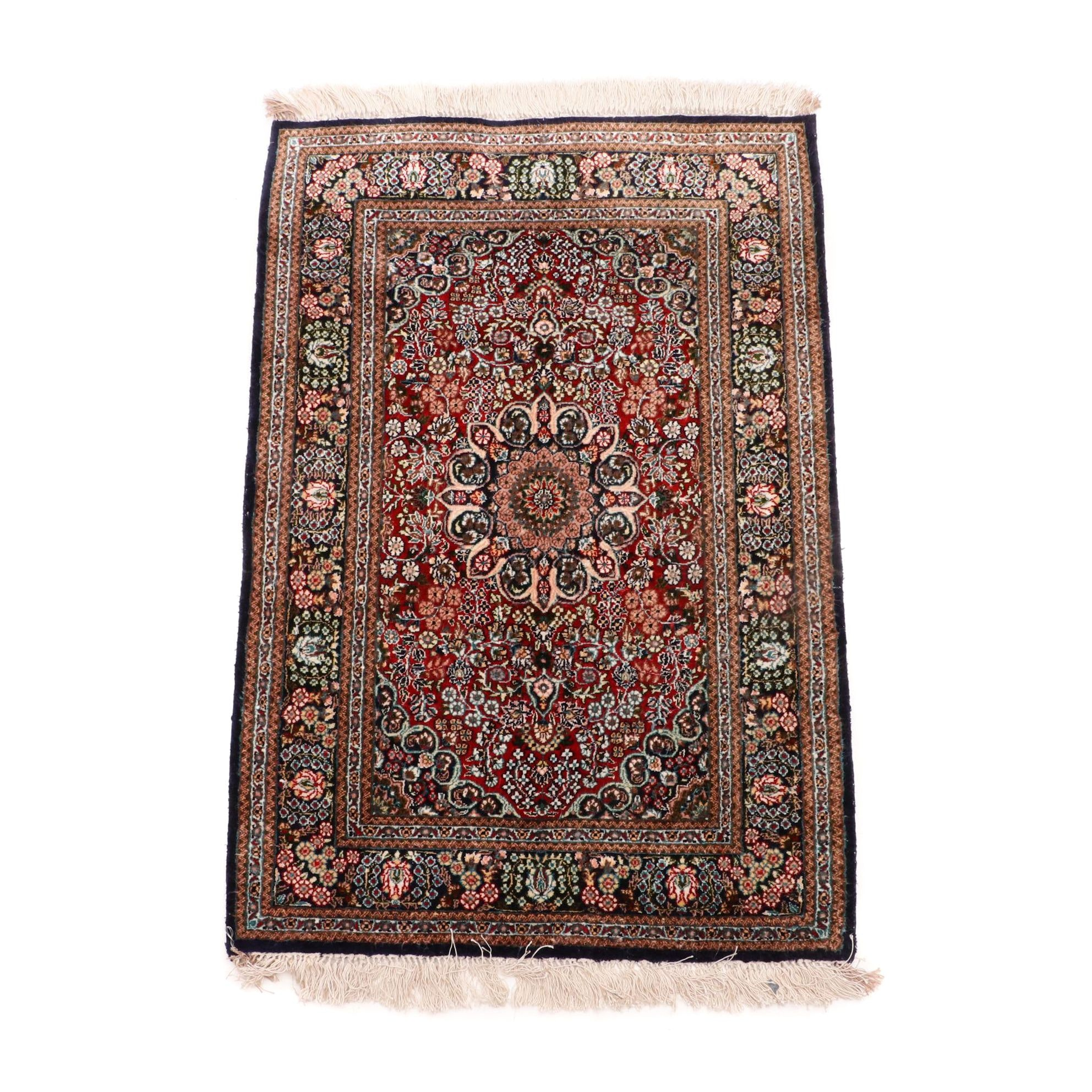 Hand-Knotted Sino-Persian Silk Accent Rug