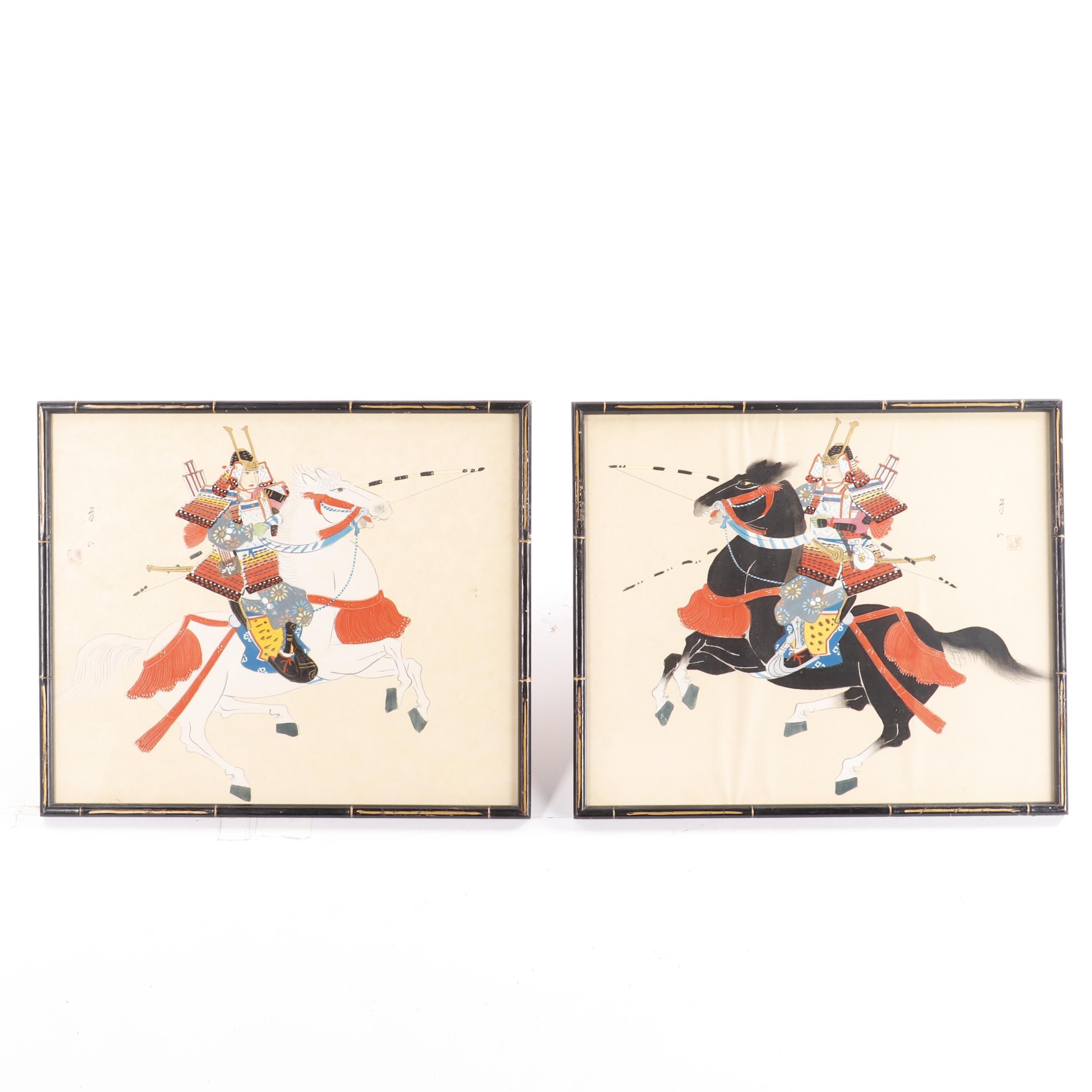Silk Paintings of Japanese Warriors on Horseback