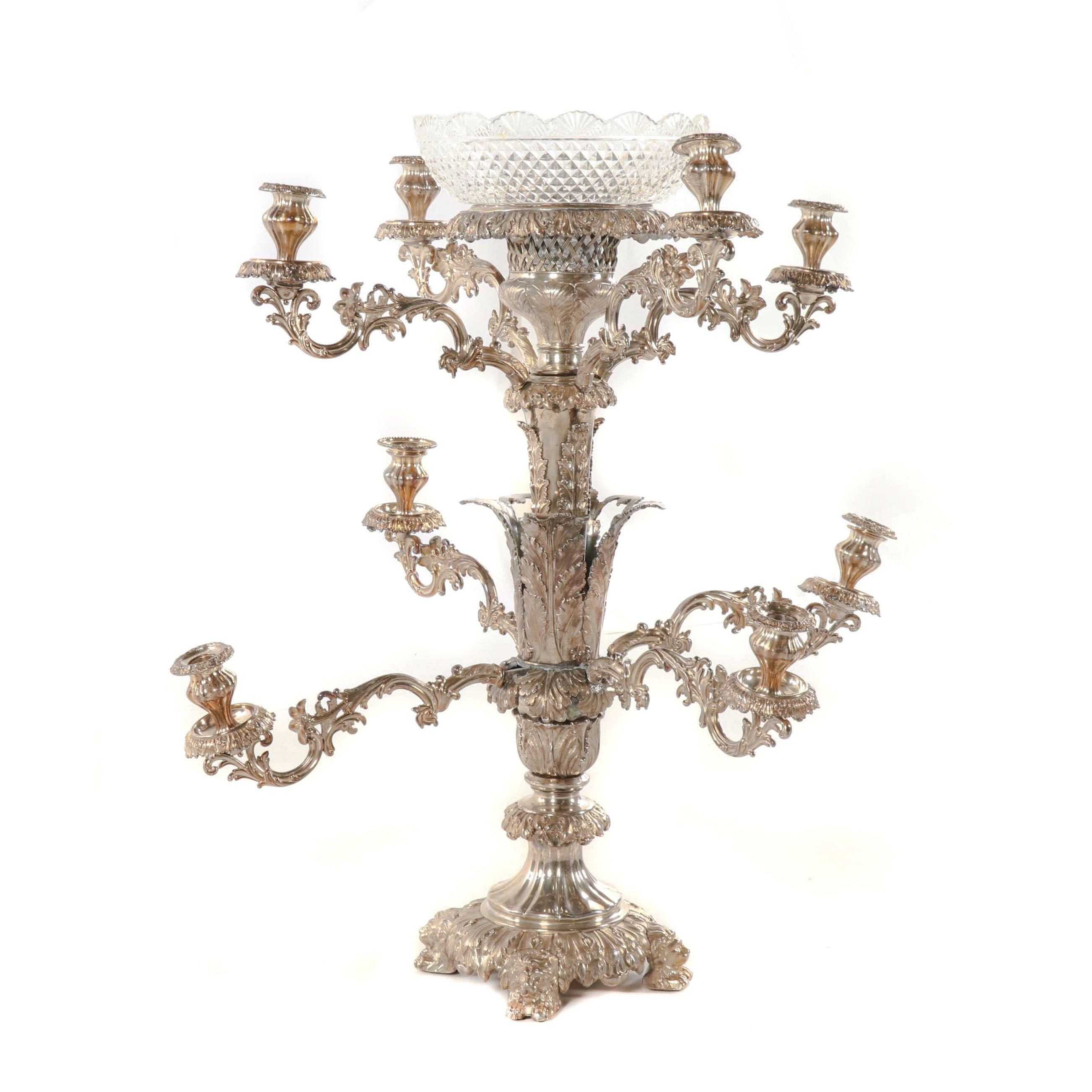 James Dixon & Son Old Sheffield Plate Candelabrum Epergne, Early 19th Century