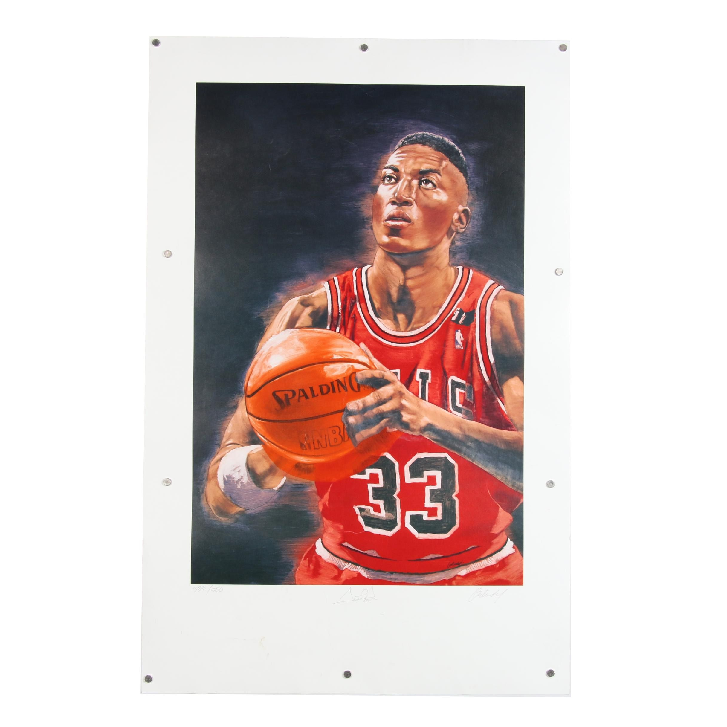 Scottie Pippen Autographed Limited Edition Offset Lithograph Poster