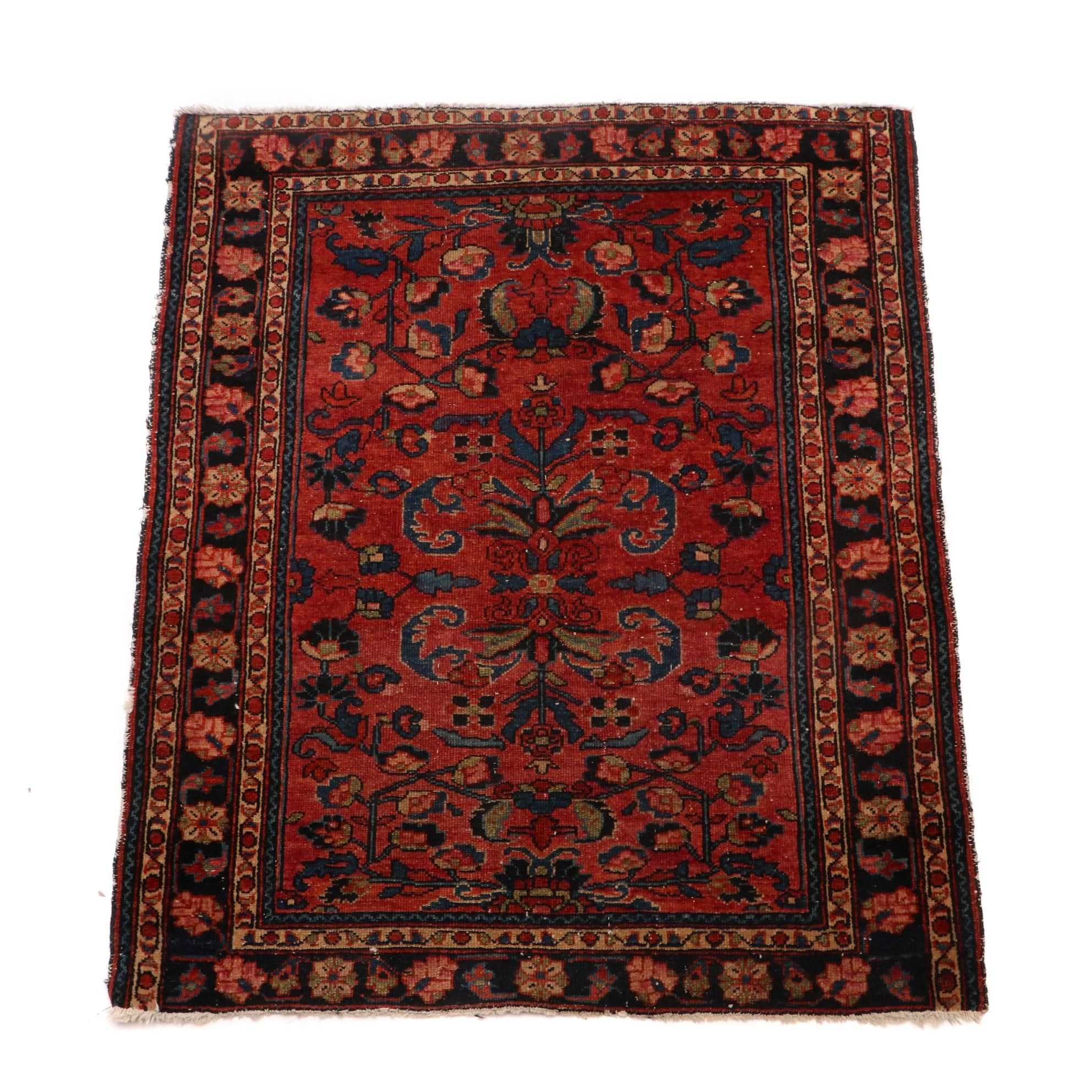 Vintage Hand-Knotted Persian Hamadan Accent Rug