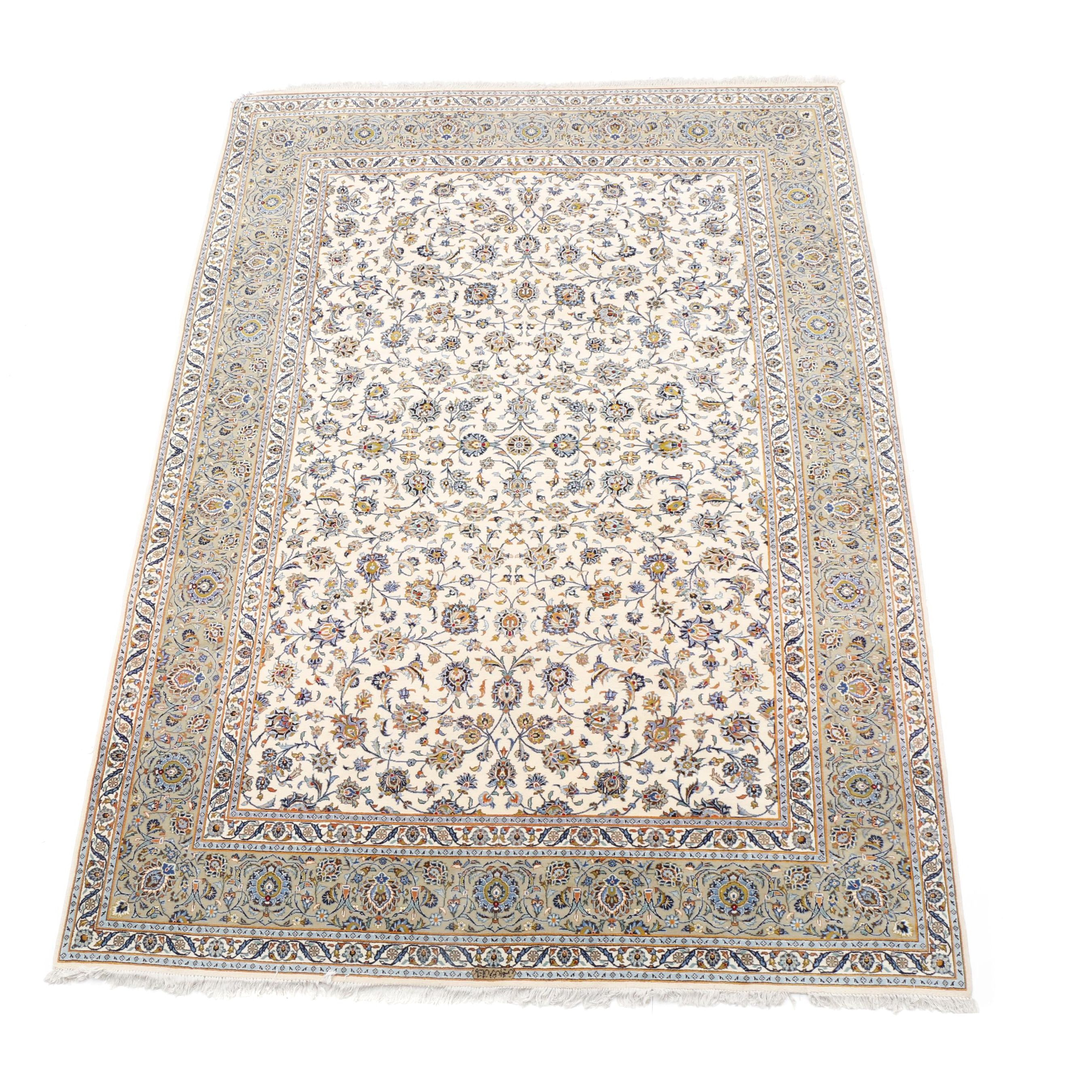 Hand-Knotted Signed Persian Isfahan Style Room-Size Rug