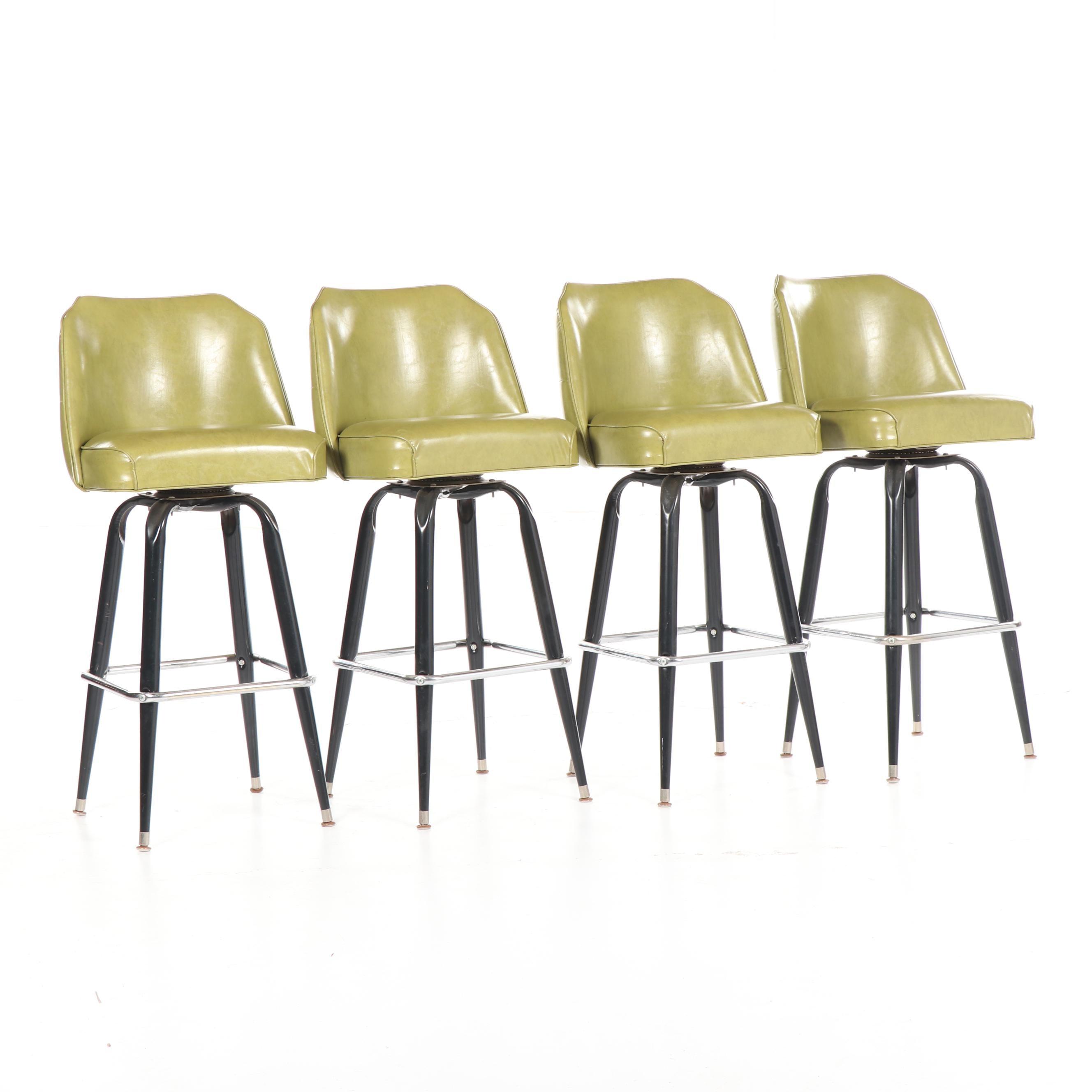 Mid Century Modern Tufted Vinyl Upholstered Metal Barstools, Mid-20th Century