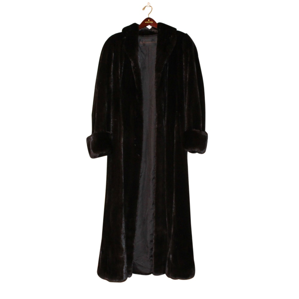 Women's B.K. by Ben Kahn Blackglama Dark Ranch Mink Fur Full-Length Coat
