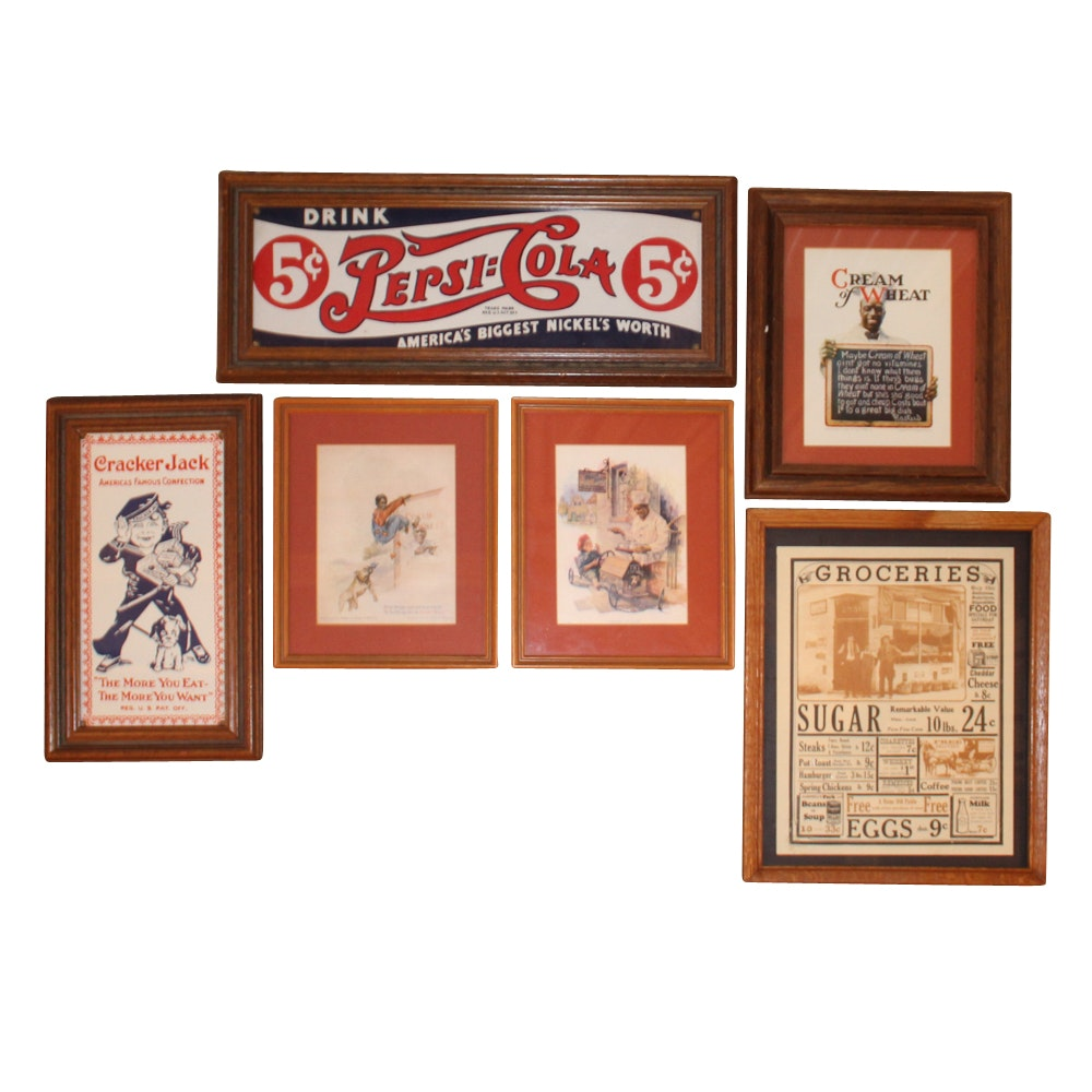 Six Framed Vintage Advertisement Posters Including Pepsi-Cola
