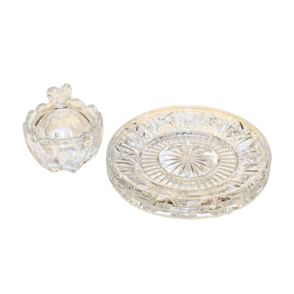 Three Waterford Crystal Plates and Candy Dish
