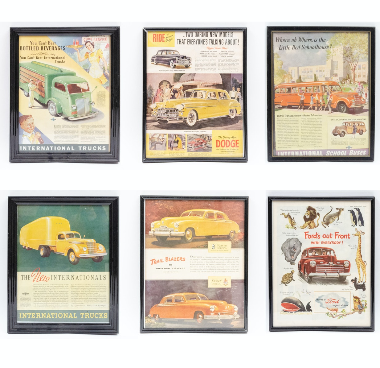 Post War Automobile Ads including International, Dodge, Ford and Kaiser