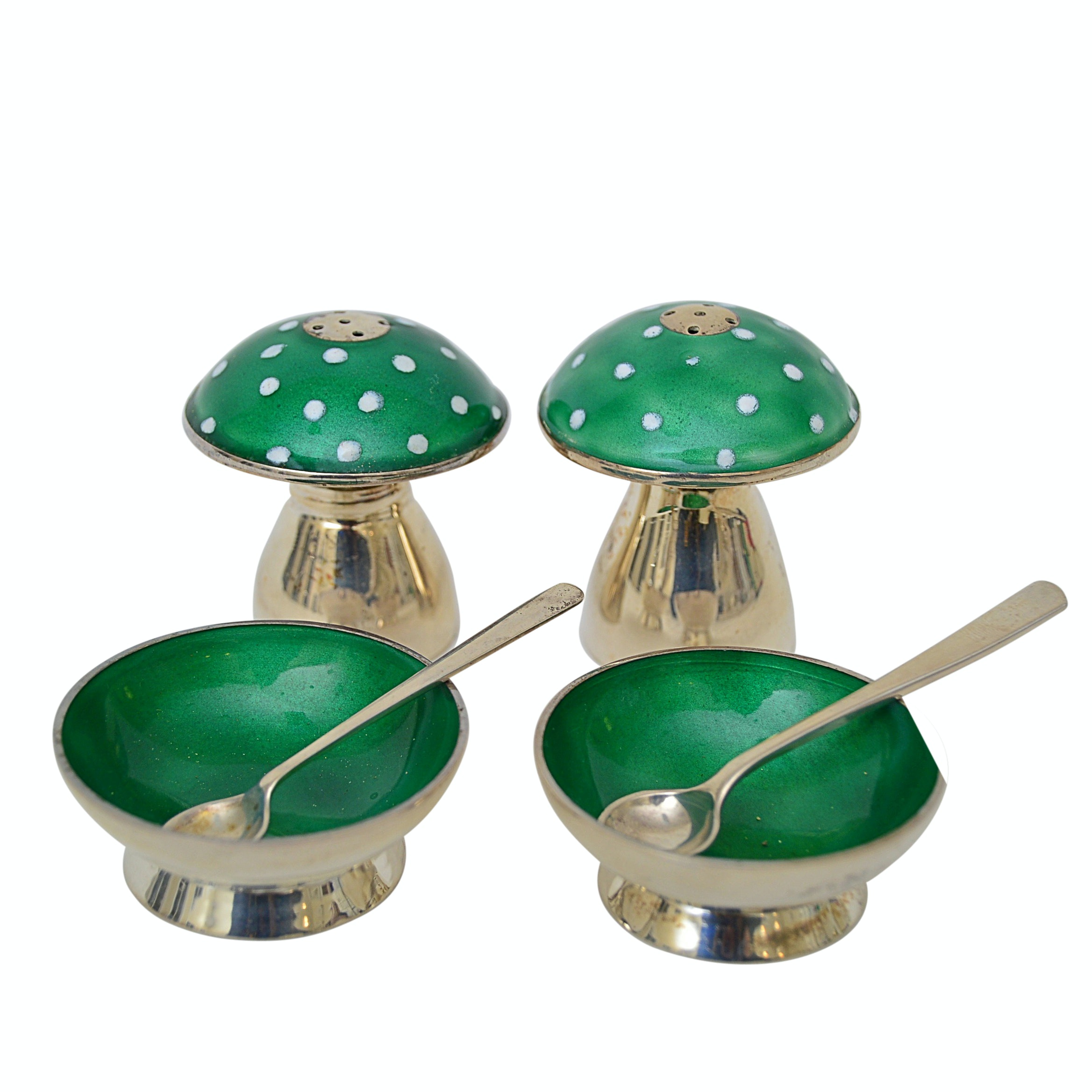 Mexican Taxco Sterling Silver and Enamel Salt + Pepper Shakers,  Salt Cellars