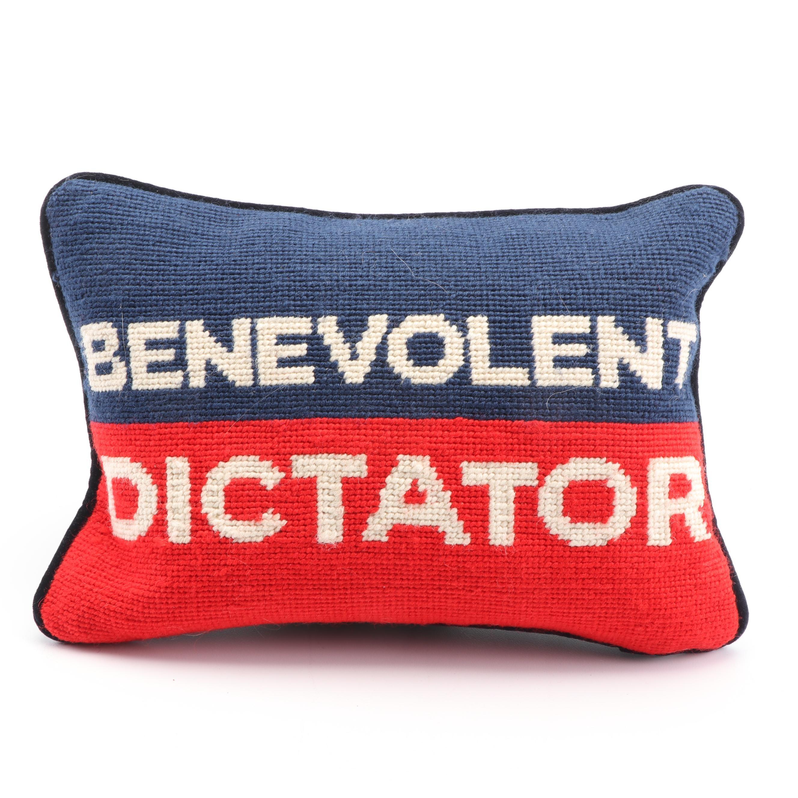 "Jonathan Adler ""Benevolent Dictator"" Needlepoint Pillow"