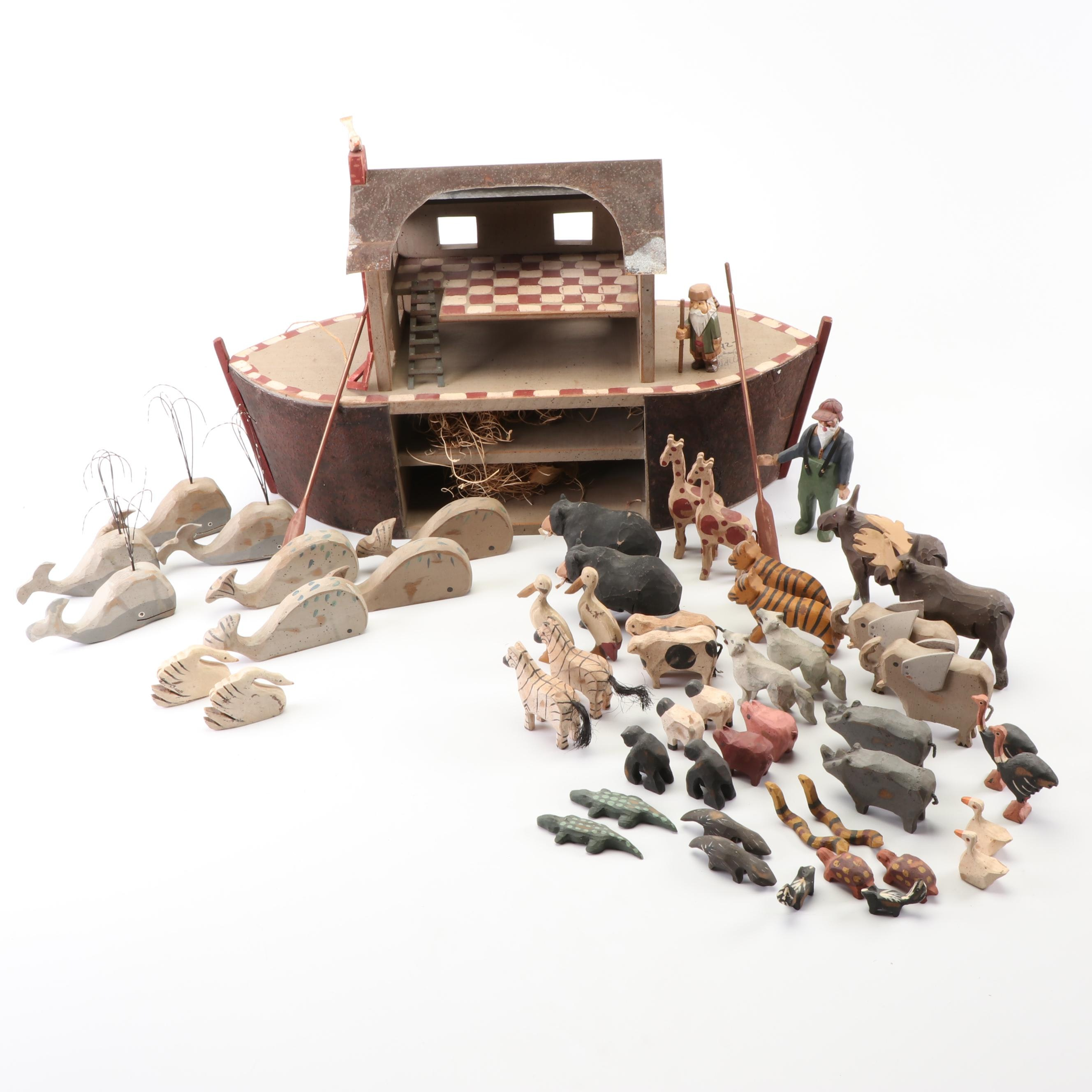 Milkwood Toy Co. Limited Edition Painted and Carved Wood Noah's Ark Play Set
