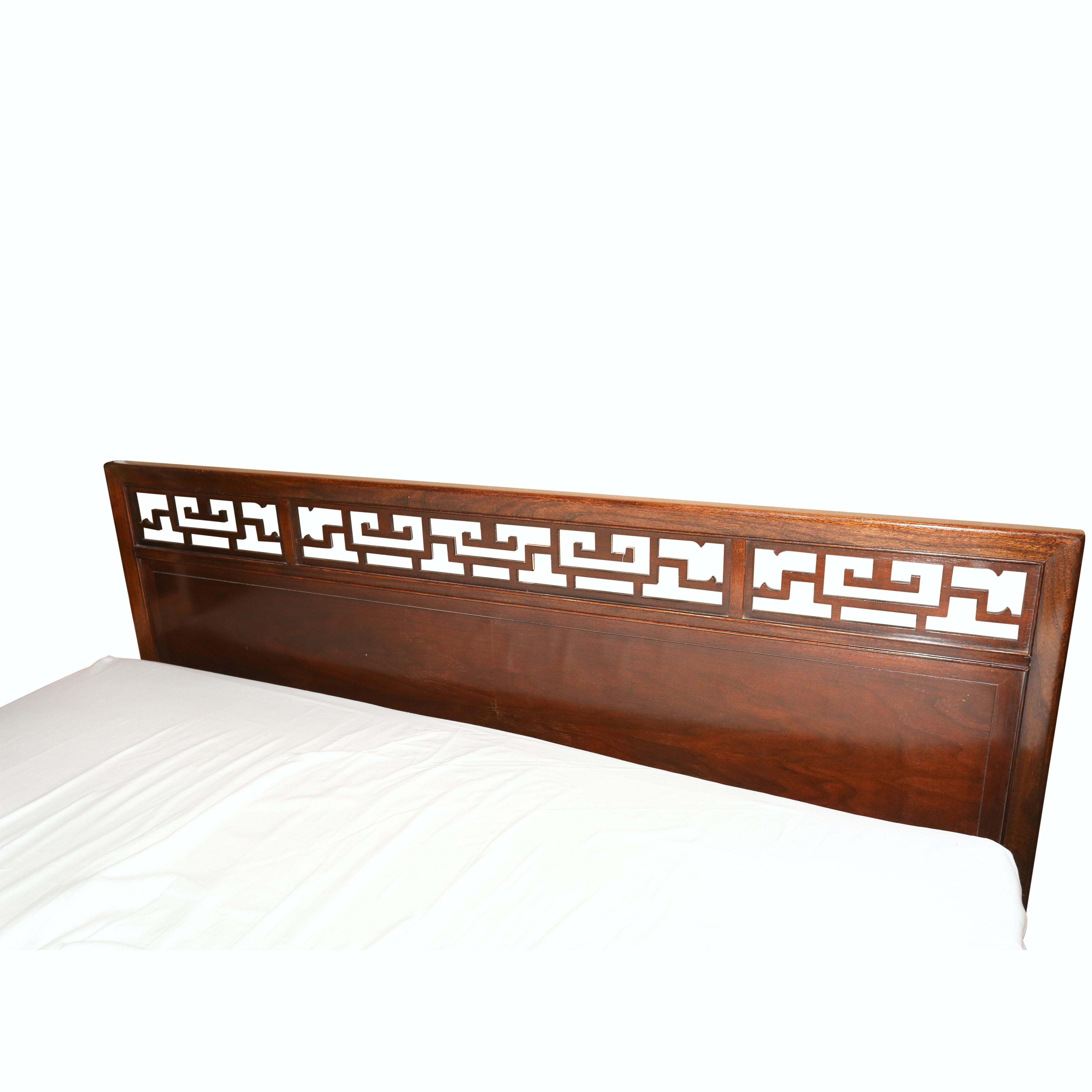 Open Fretwork Walnut Queen Size Headboard, 20th Century