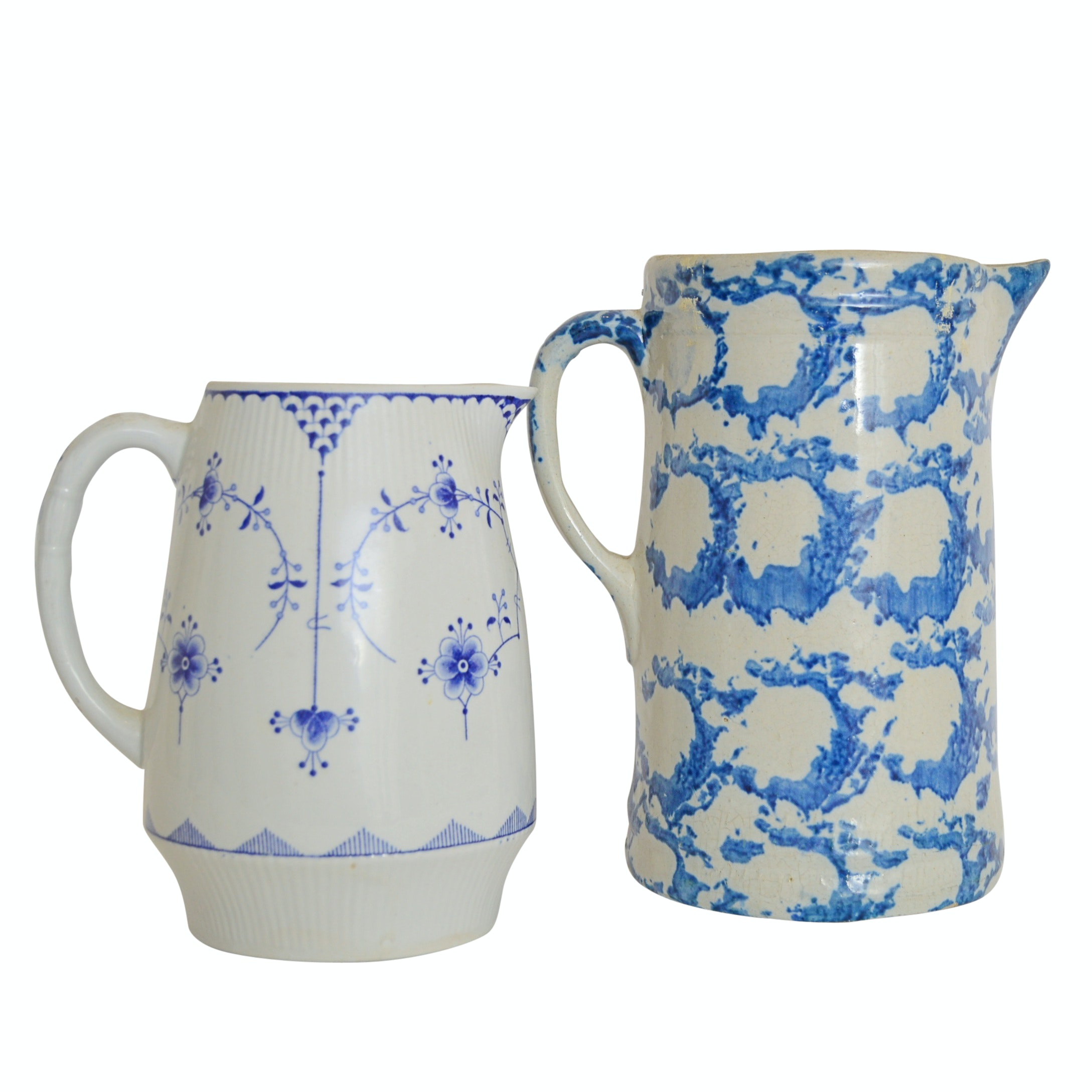 """English """"Blue Denmark"""" Furnivals Pitcher and Sponge Painted Pitcher"""