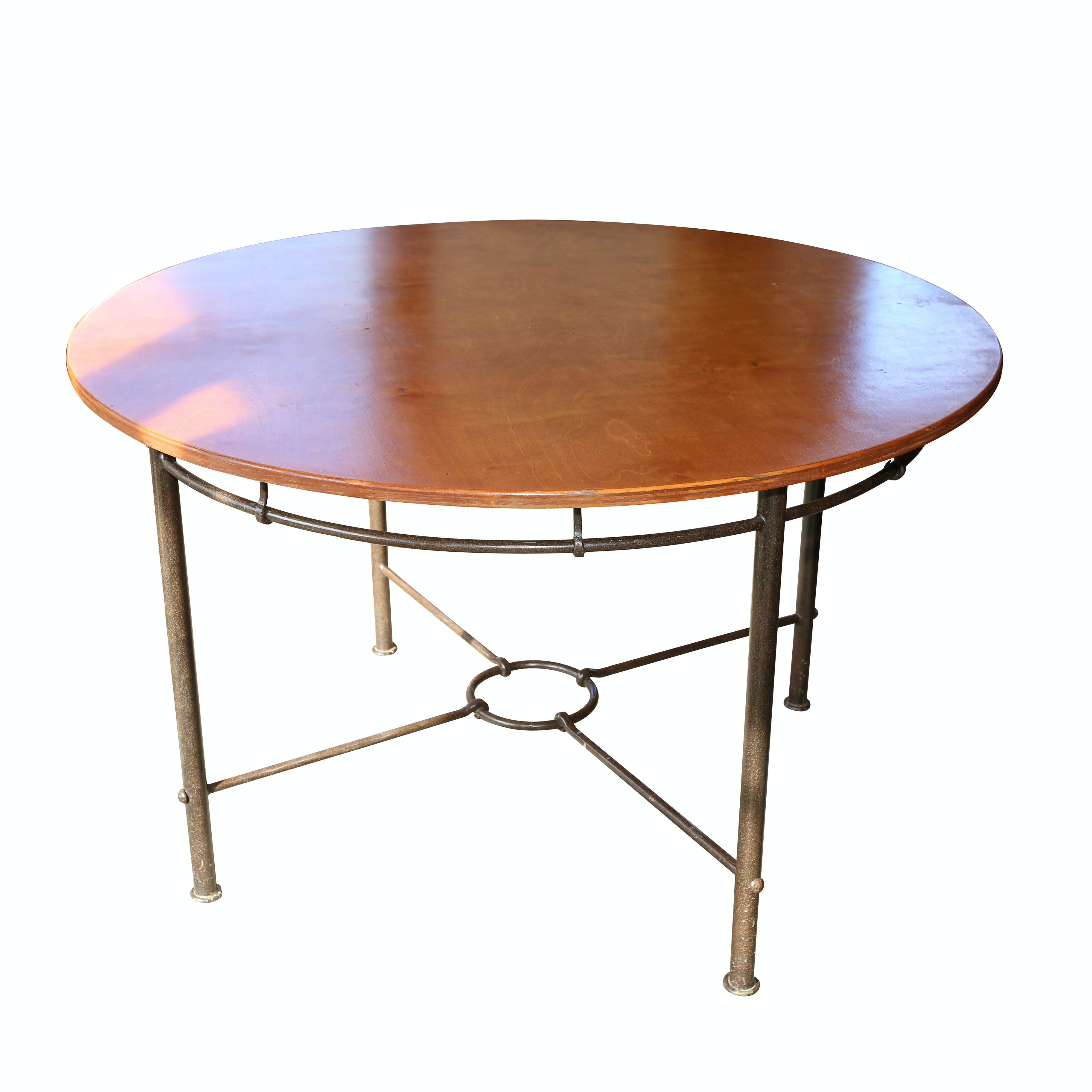 Walnut and Metal Circular Dining Table, Late 20th Century