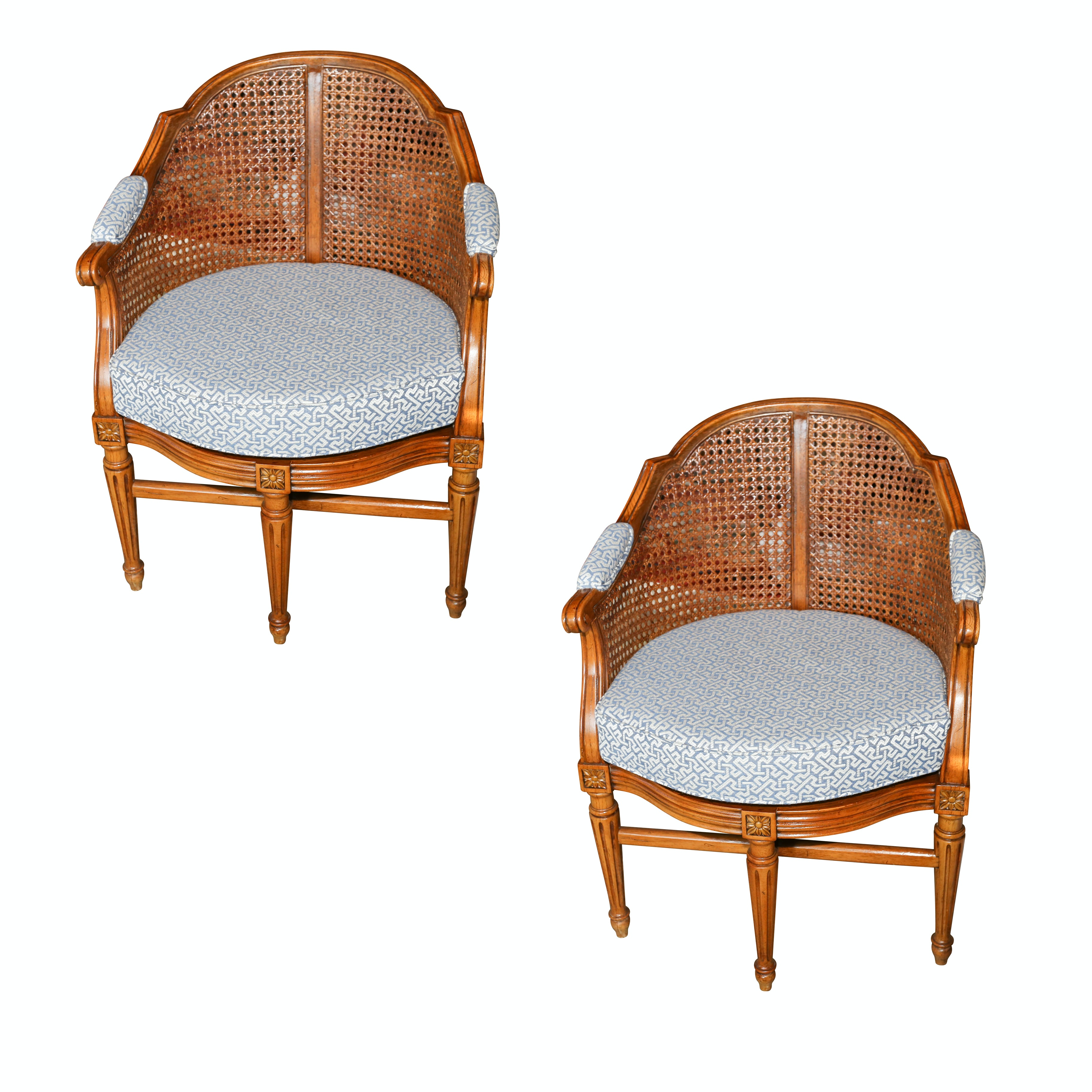 Louis XVI Style Caned Tub Chairs, 20th Century