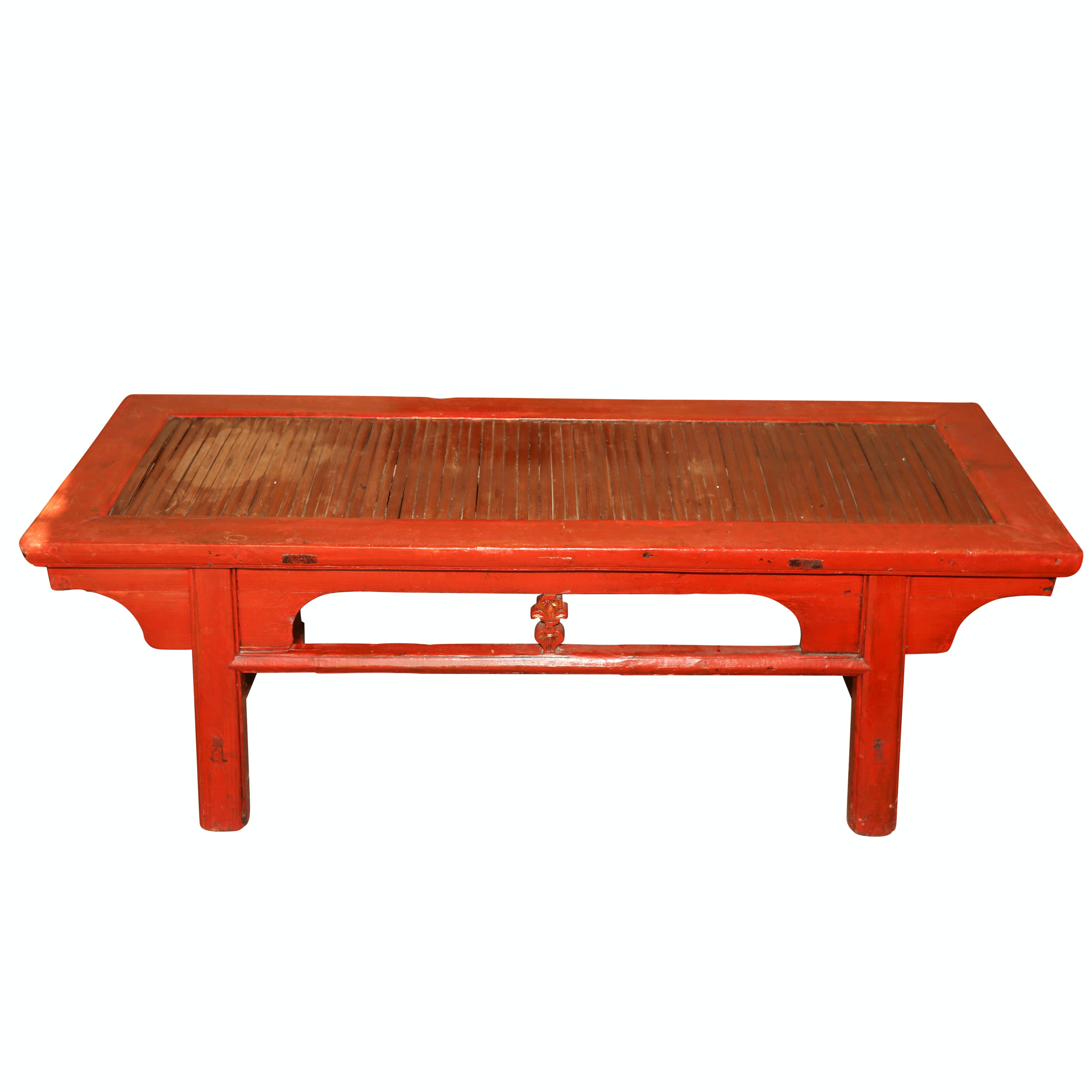 Chinese Red Lacquered Wood Coffee Table, Mid-20th Century