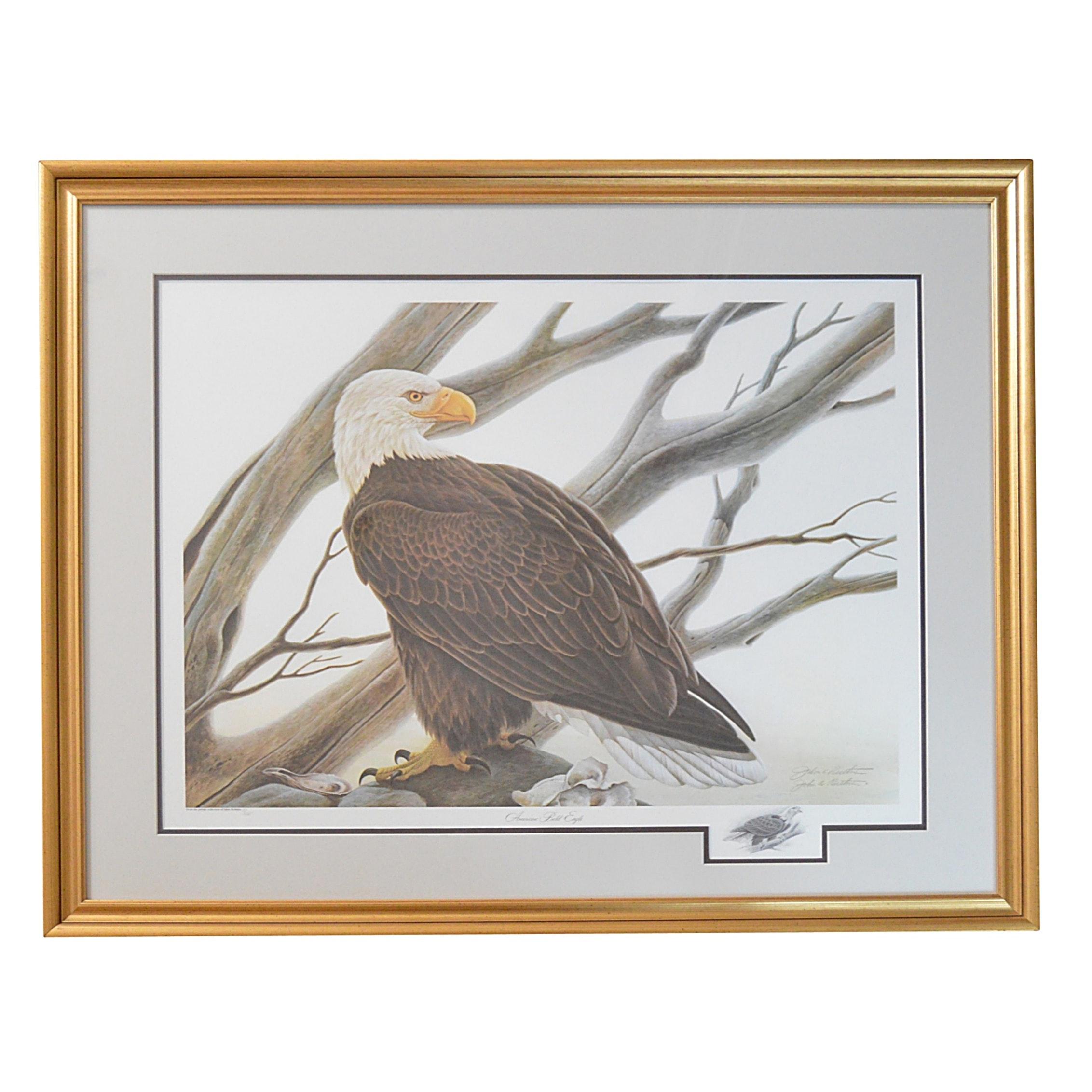 "John A. Ruthven Offset Lithograph ""American Bald Eagle"""