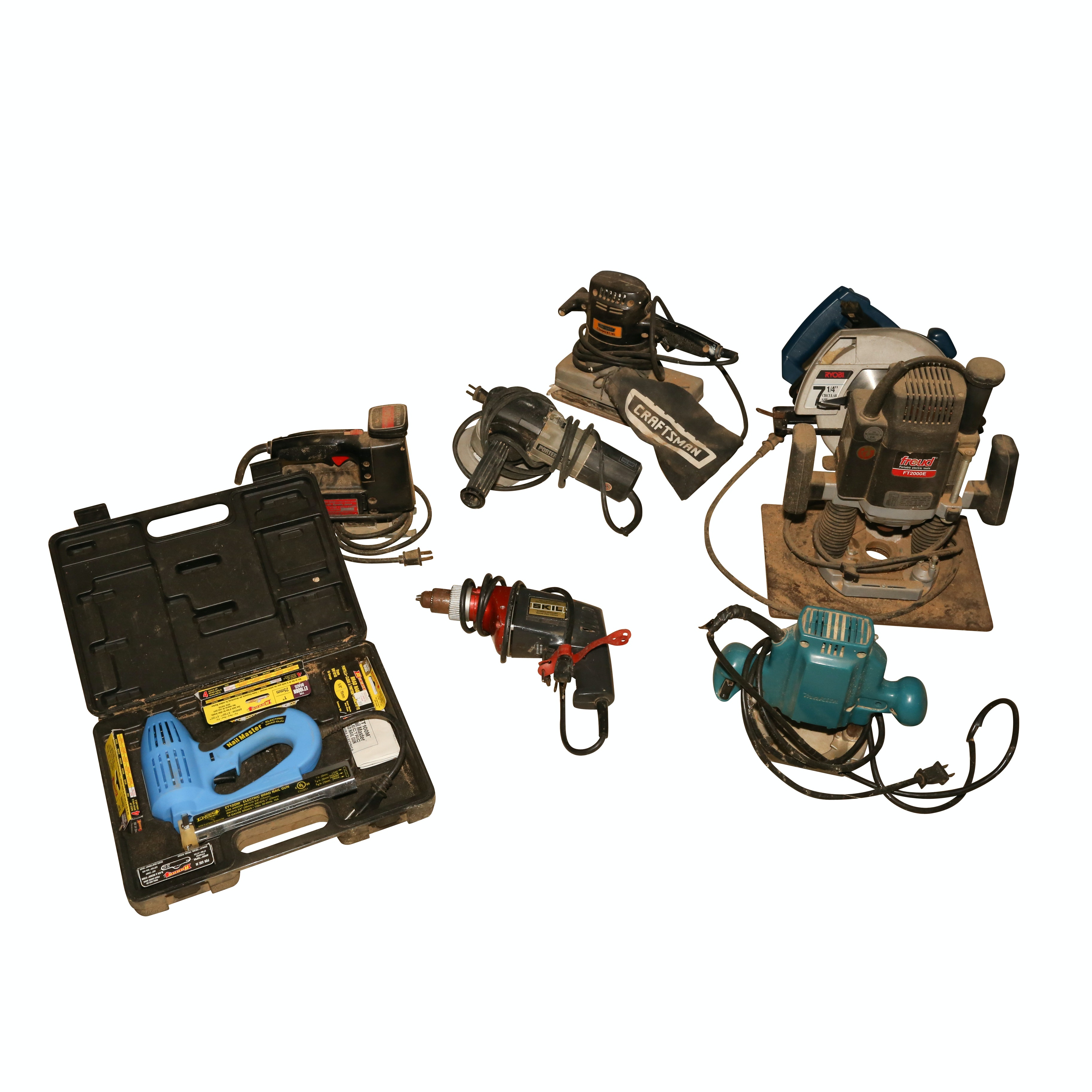 Freud Plunge Router, Arrow Electric Brad Nail Gun, and Other Power Tools