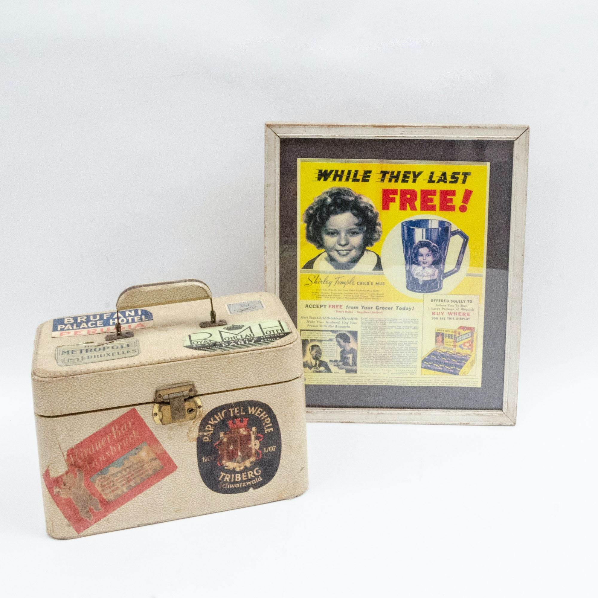 1930s Shirley Temple Advertising Poster and Vintage Travel Case
