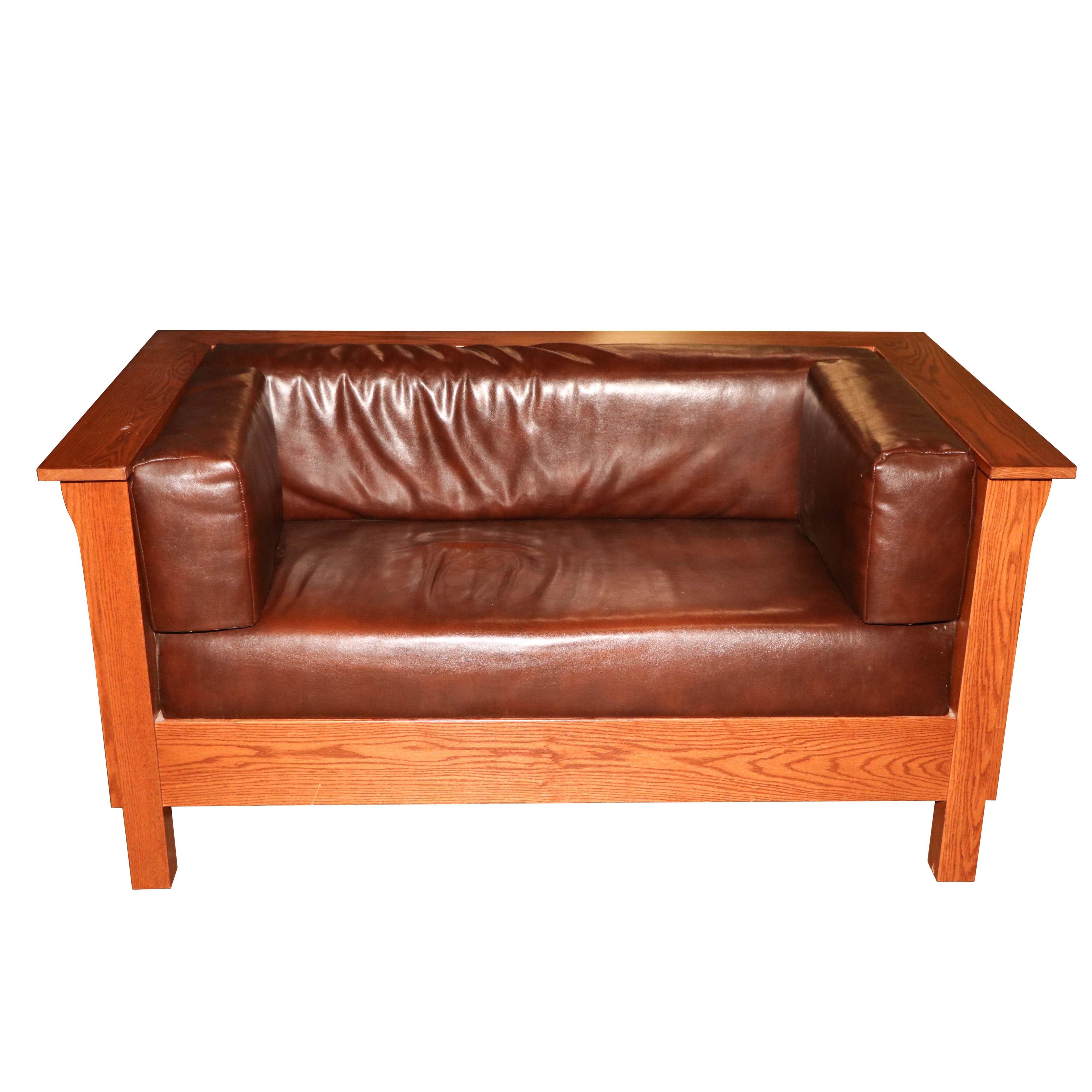 Vinyl Upholstered Oak Frame Tuxedo Style Loveseat, 21st Century