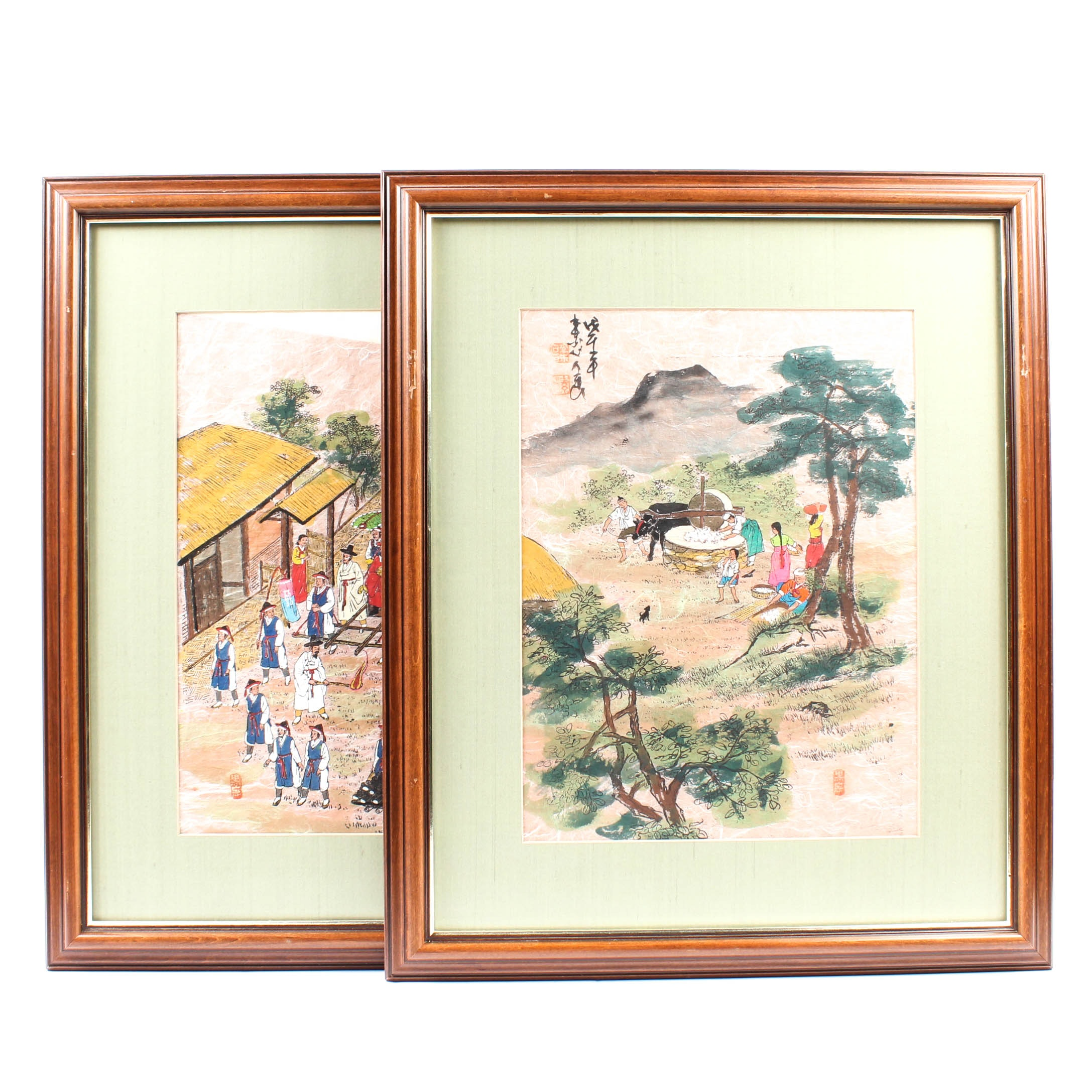 1970s Chinese Gouache Paintings on Hand-Made Rice Paper