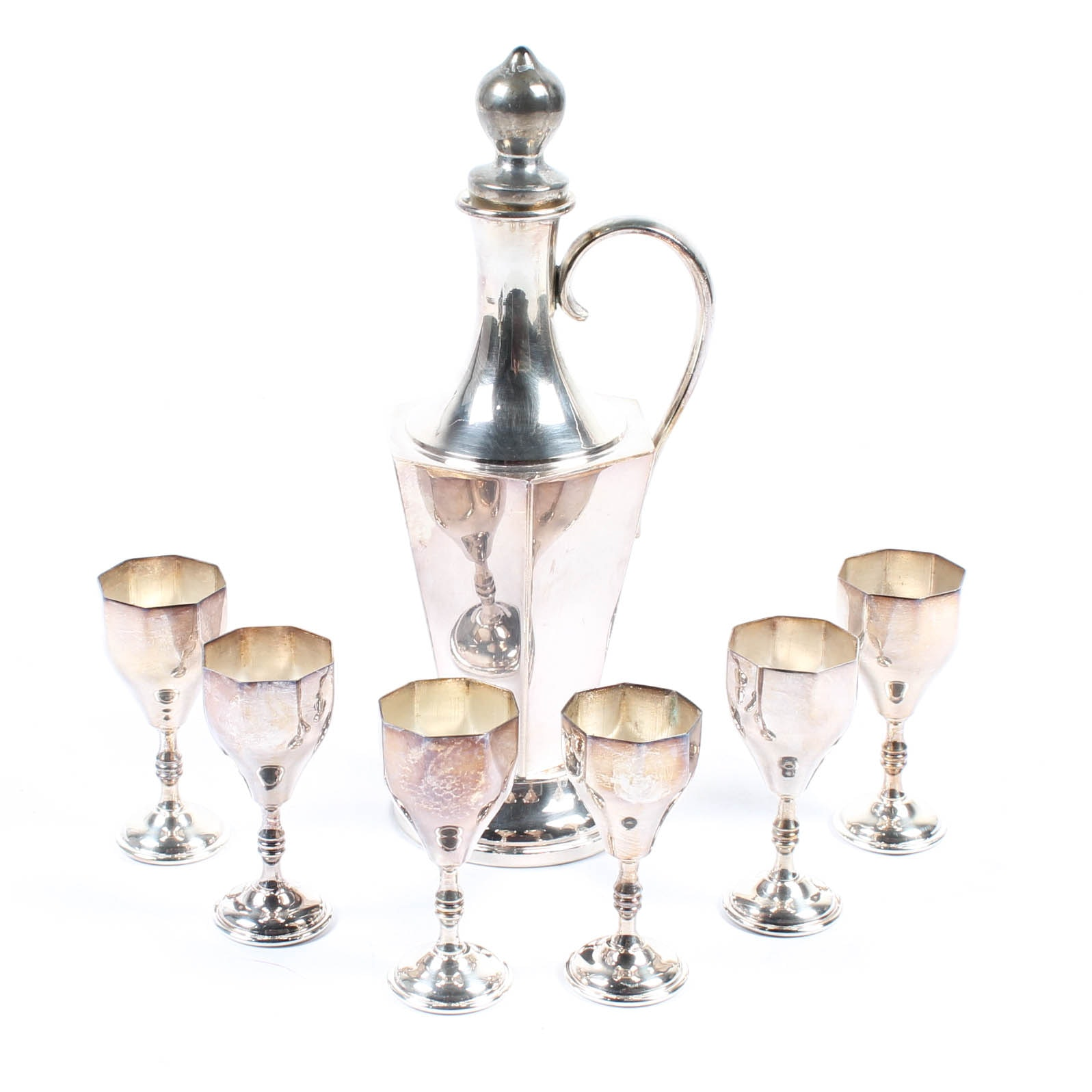 Sheffield Silverplate Decanter and Cordials