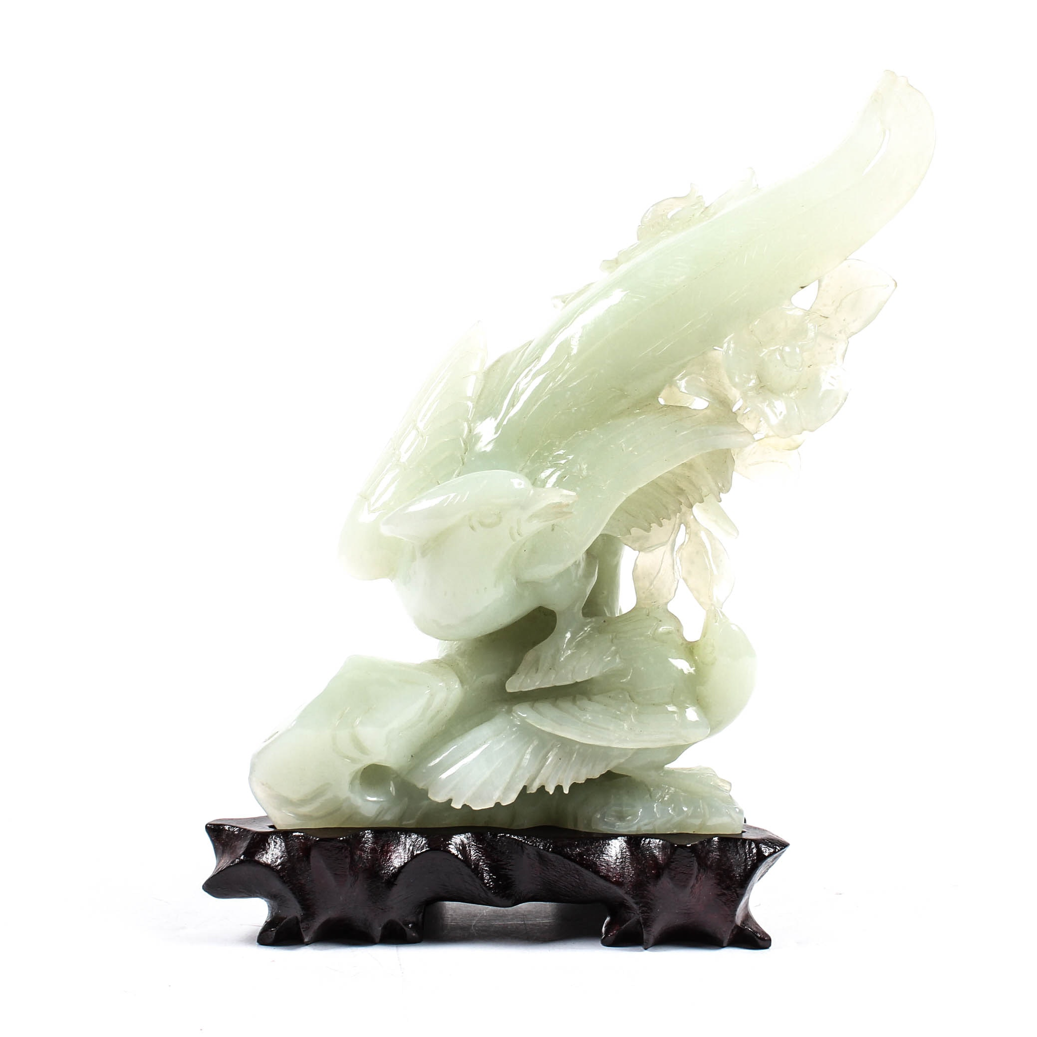Hand-Carved Chinese Jadeite Bird Sculpture